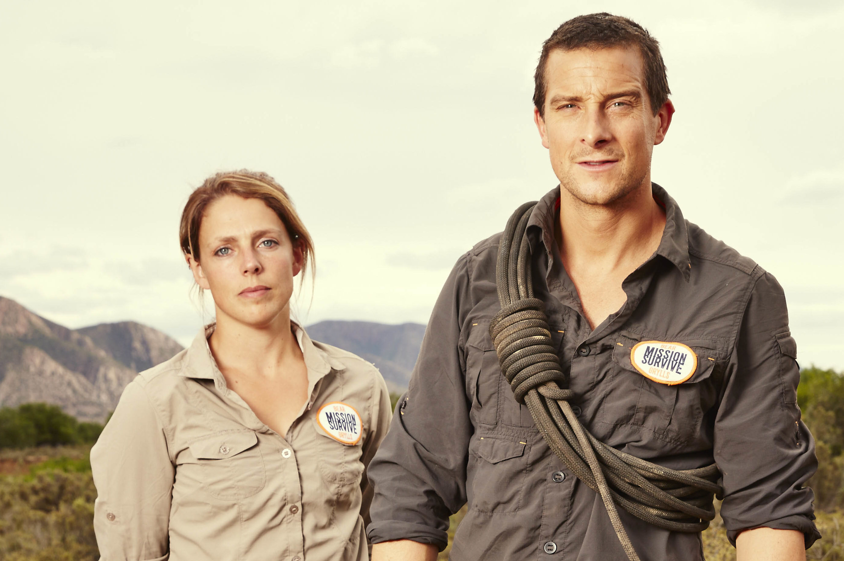 Megan Hine alongside Bear Grylls (ITV)