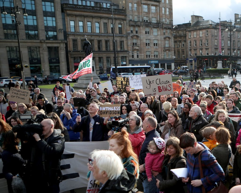 Campaigners protesting against the 'rape clause' in Glasgow's George Square last year (Jane Barlow/PA)
