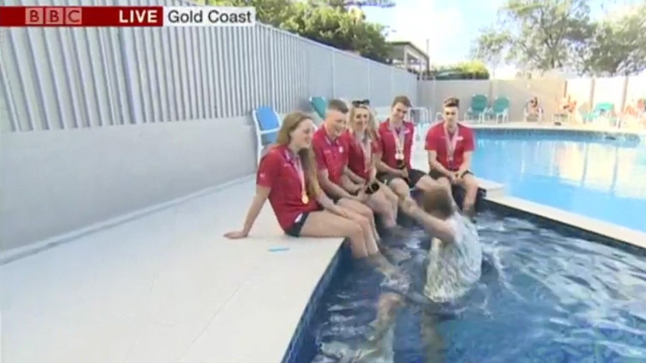 sports presenter Mike Bushell falling in the water after misjudging the step in a pool (BBC Breakfast/PA)