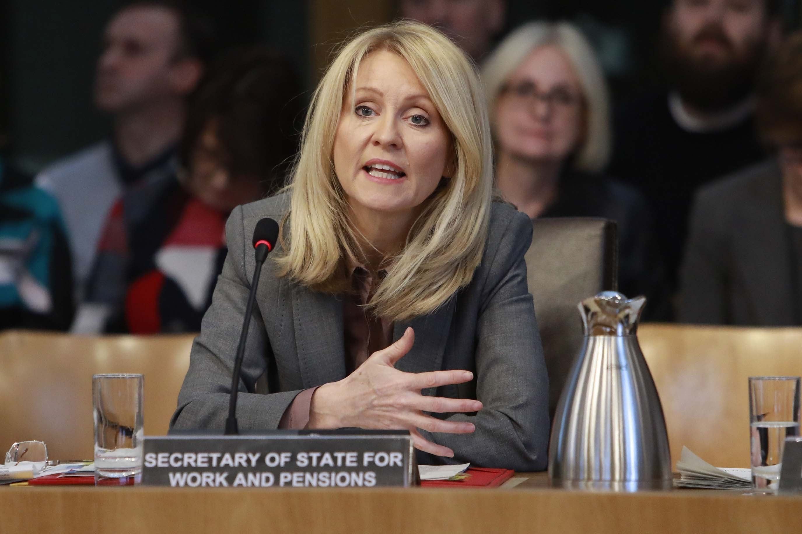 Esther McVey was heckled by members of the public in a Holyrood committee meeting (Andrew Cowan/Scottish Parliament/PA)