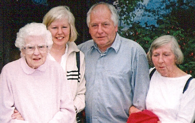 Eric Wallace with, from  left, mum  Margaret,  Susan,and his  late wife Dorothy