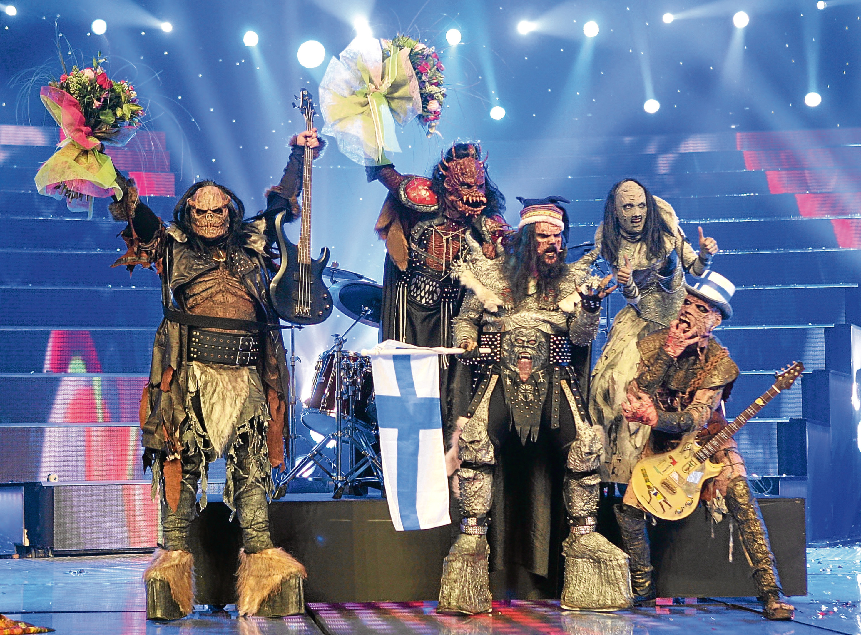 Monster rock band Lordi of Finland celebrate their victory in the 2006 Eurovision Song Contest  (Sean Gallup/Getty Images)