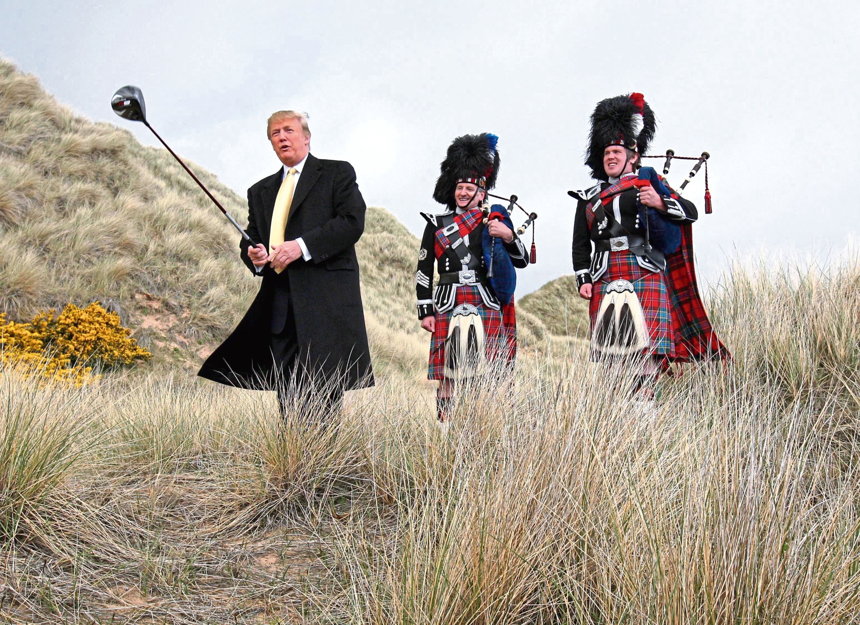 Donald Trump visiting the Menie Estate in Aberdeenshire before his golf resort was built.