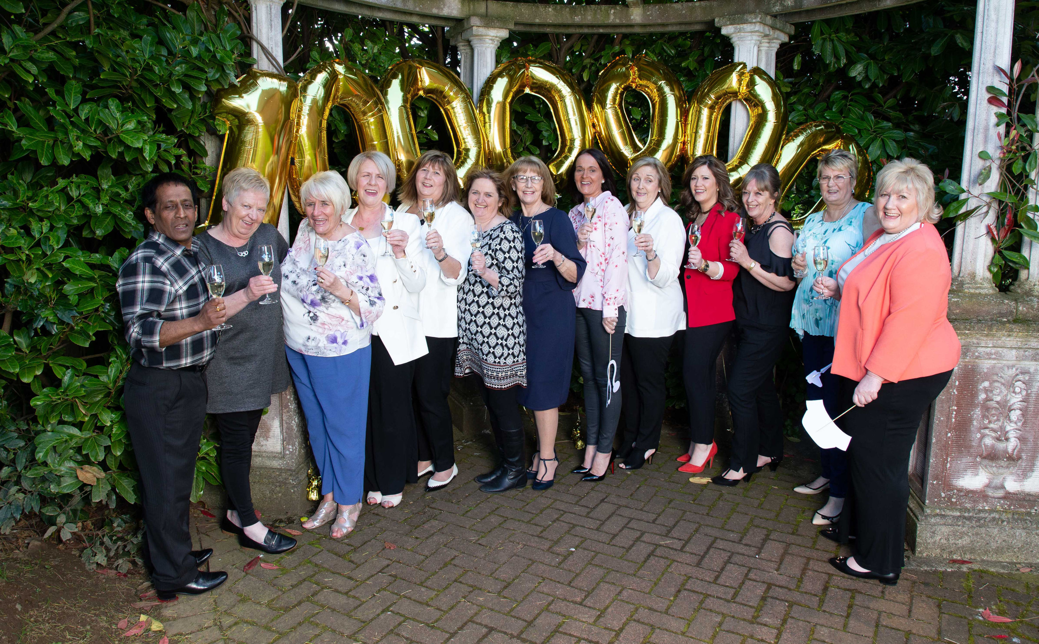 The winning group of 15 nurses from Cleland Hospital in Motherwell, North Lanarkshire (Camelot / PA Wire)