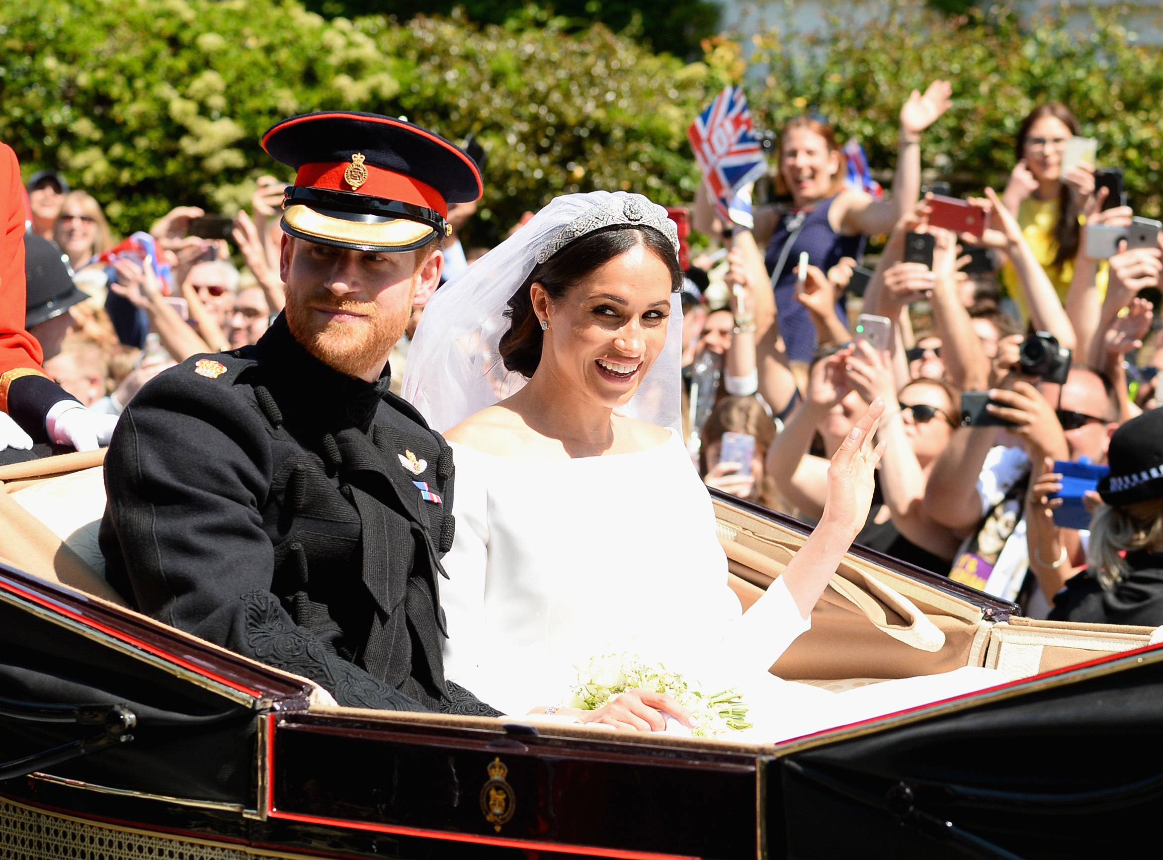 The Duke and Duchess of Sussex leave Windsor Castle in the Ascot Landau carriage (Eamonn M. McCormack/Getty Images)