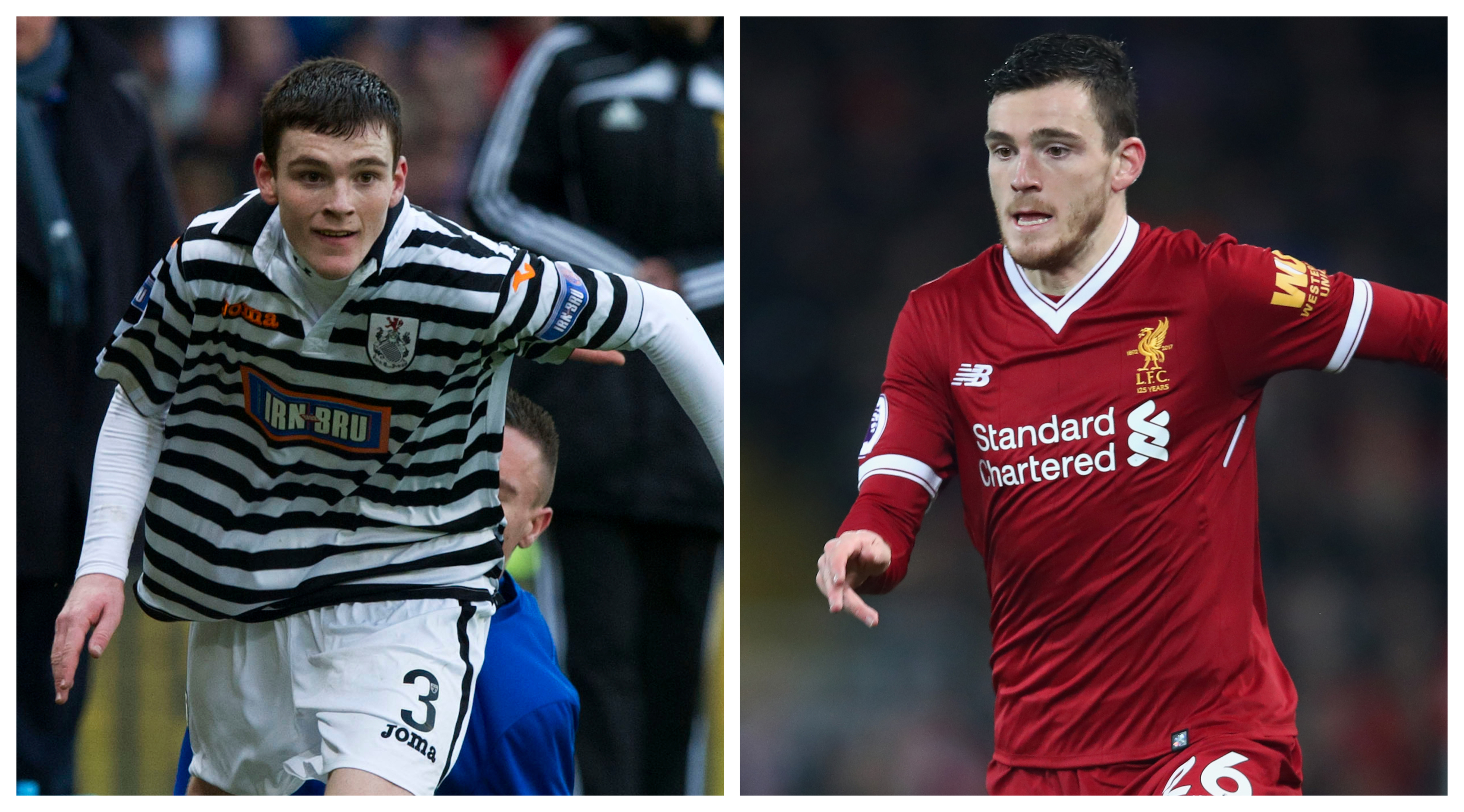 Andrew Robertson in action for Queen's Park (left) and Liverpool (SNS Group & Clive Brunskill / Getty Images)