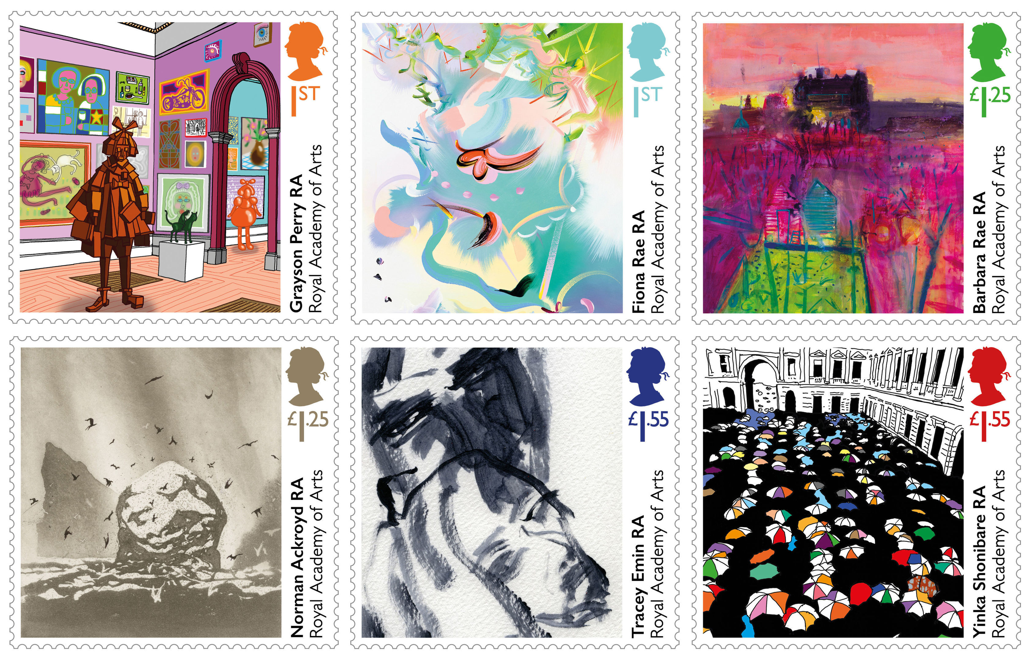 Six commissioned original artwork stamps to mark the 250th anniversary of the founding of the Royal Academy of Arts (Royal Mail/PA Wire)