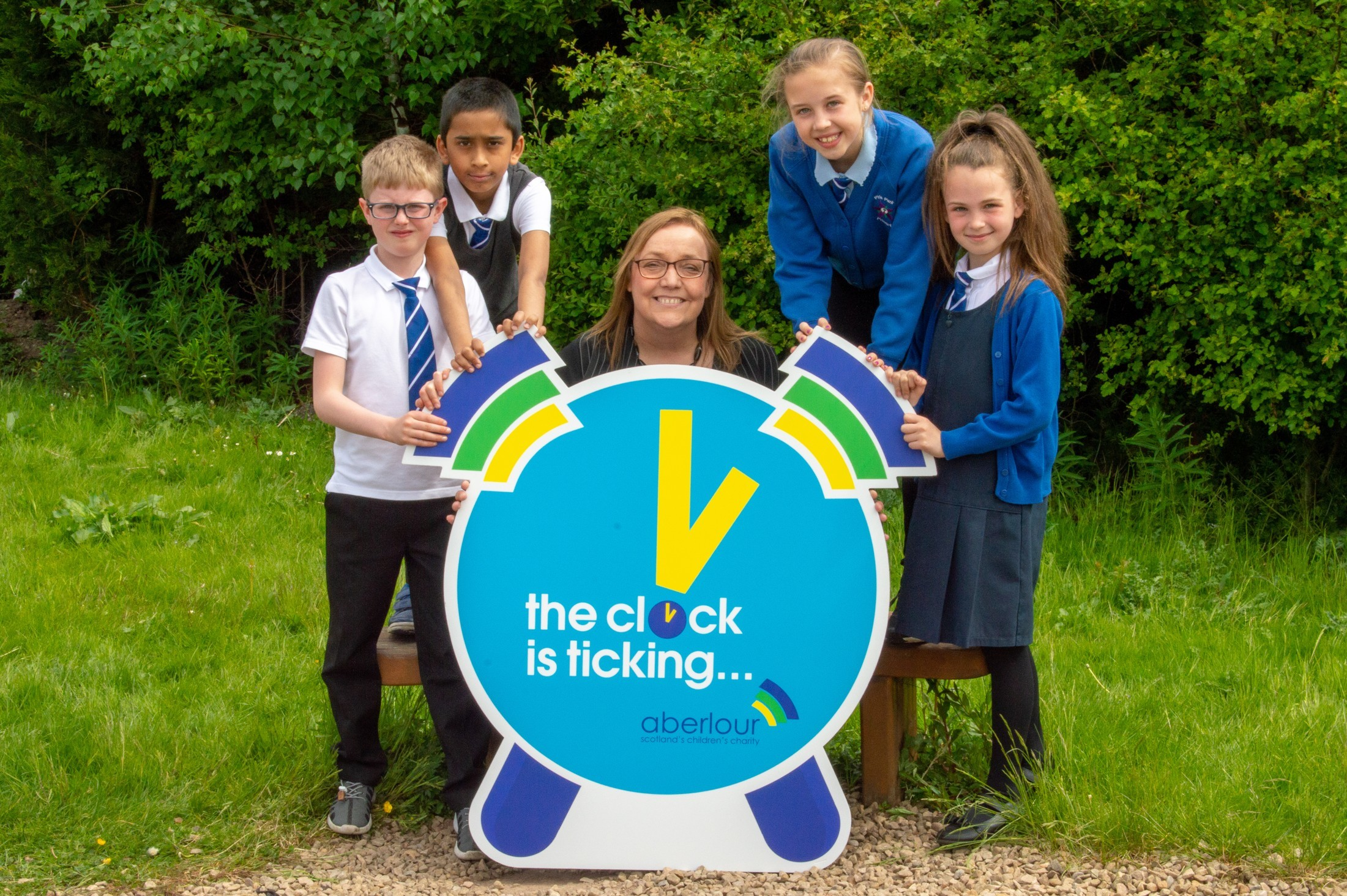 Aberlour's SallyAnn Kelly launching the campaign with primary school children