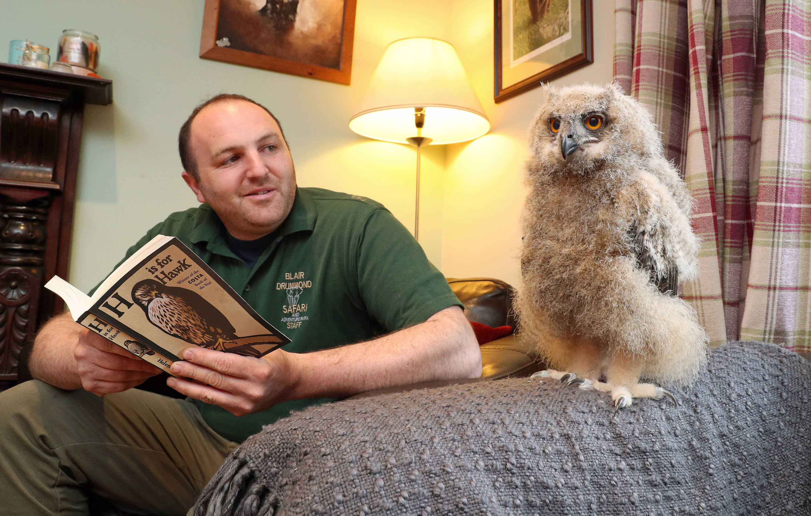 Benedict, the European eagle owl chick from Blair Drummond Safari Park near Stirling, at home with his keeper Dave Warren (Andrew Milligan/PA Wire)