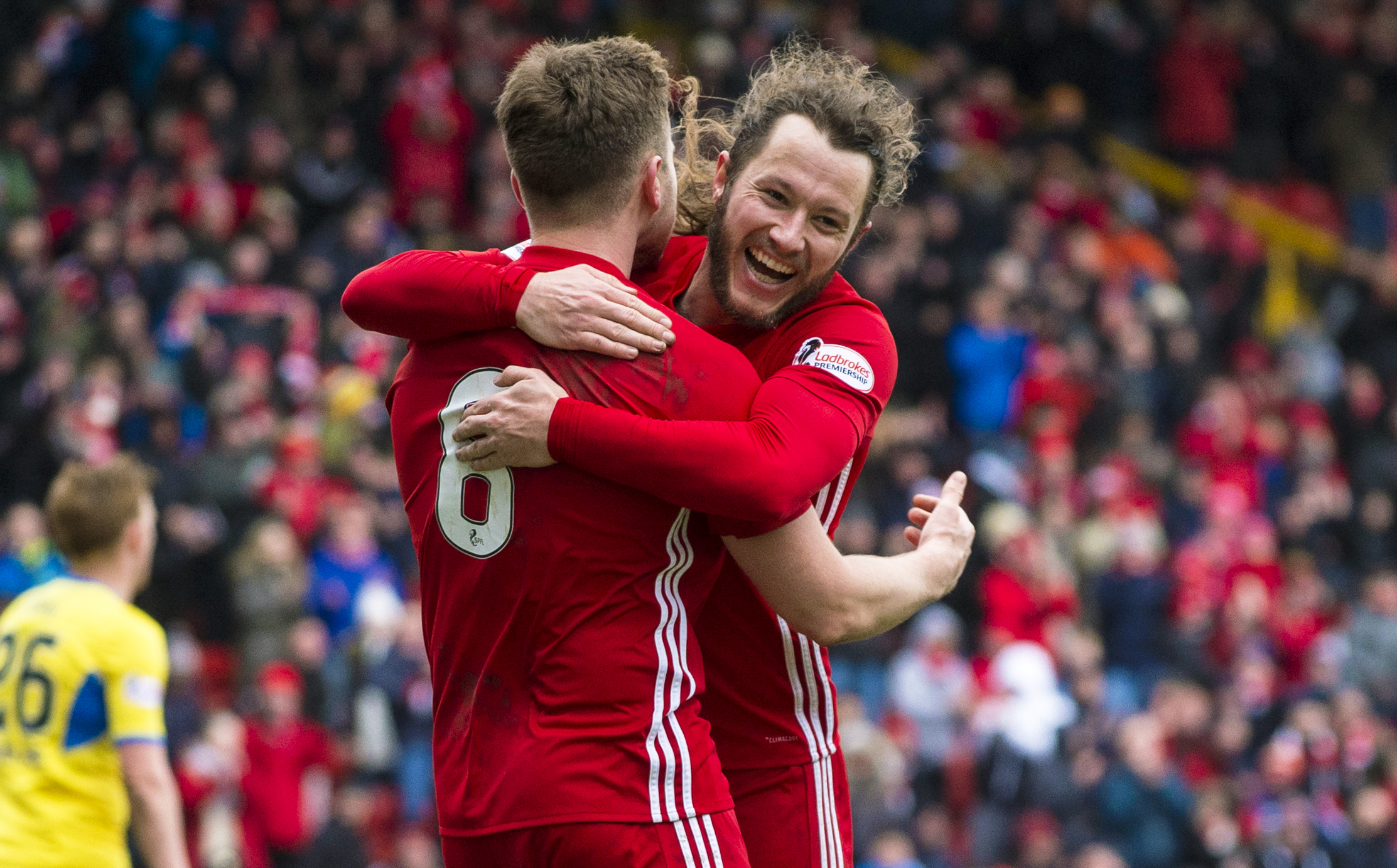 Stevie May celebrates a rare high point with Aberdeen, but is being backed to hit the heights this season (SNS Group)