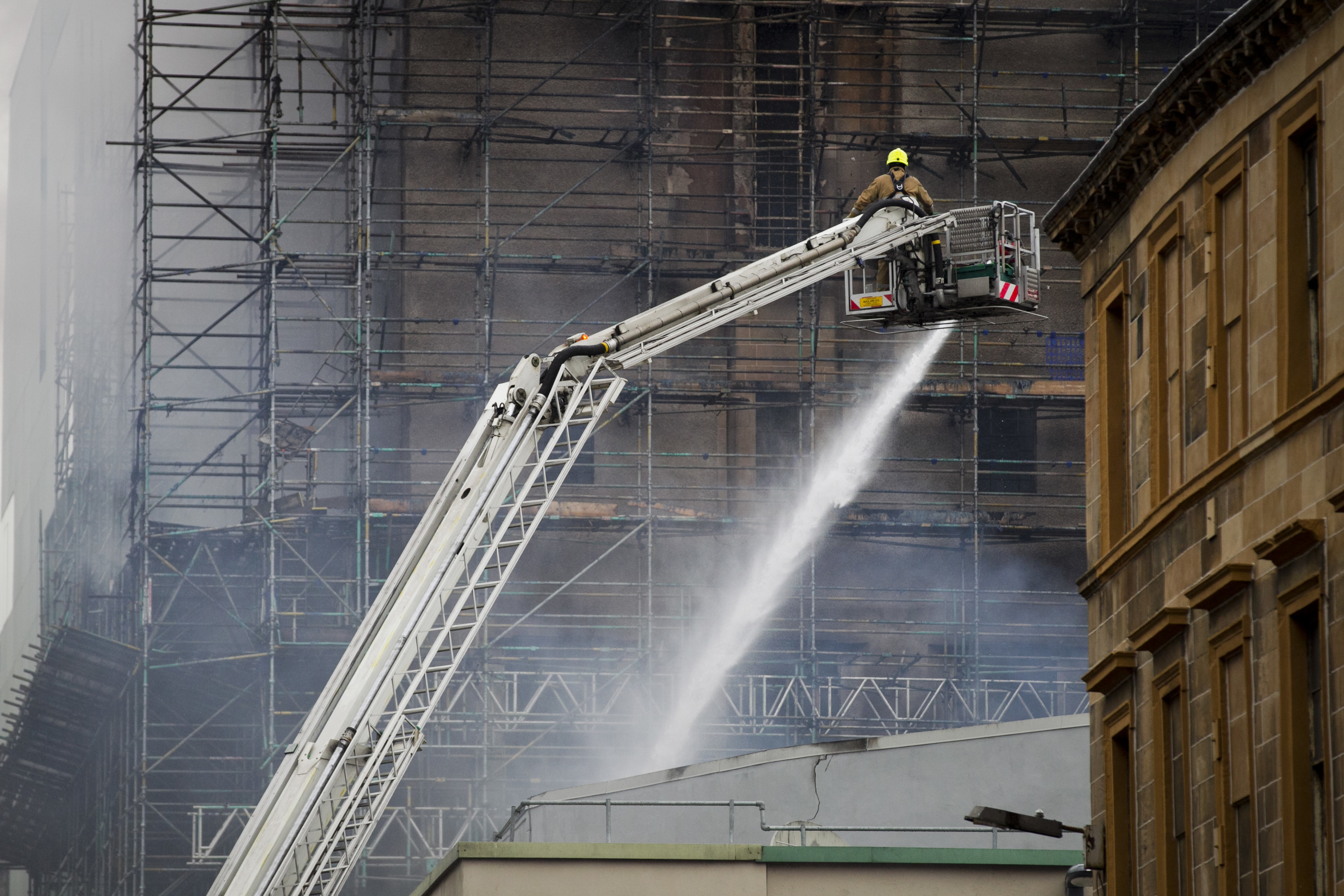 Firefighters put out the fire which destroyed the Glasgow School of Art