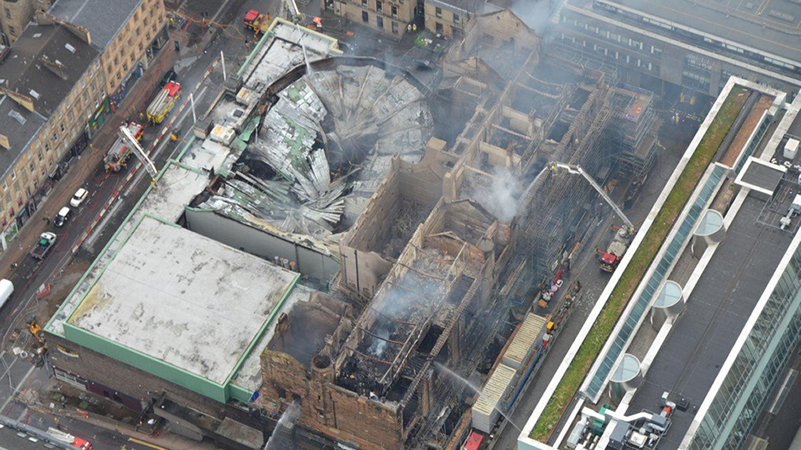 Aerial view of the site of the fire, including the Mackintosh Building and O2 ABC (Police Scotland /PA)