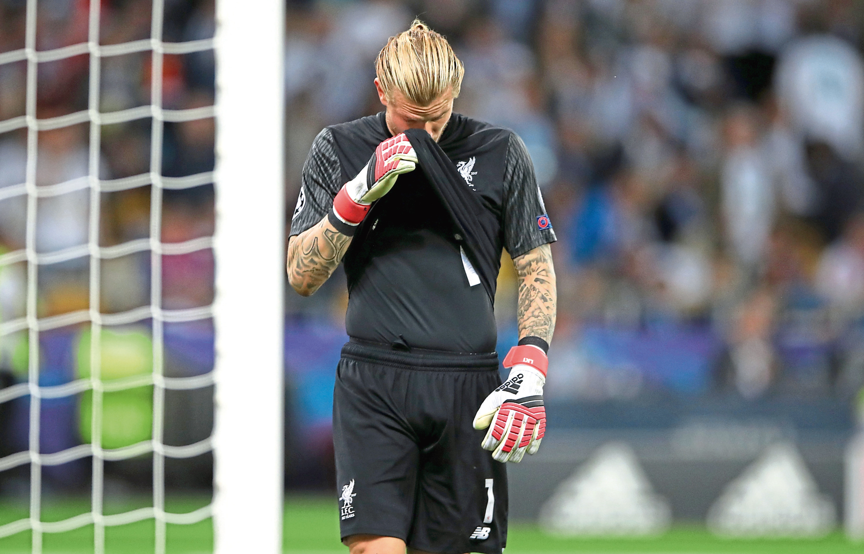Liverpool goalkeeper Loris Karius is dejected during the UEFA Champions League Final at (Nick Potts / PA Wire)