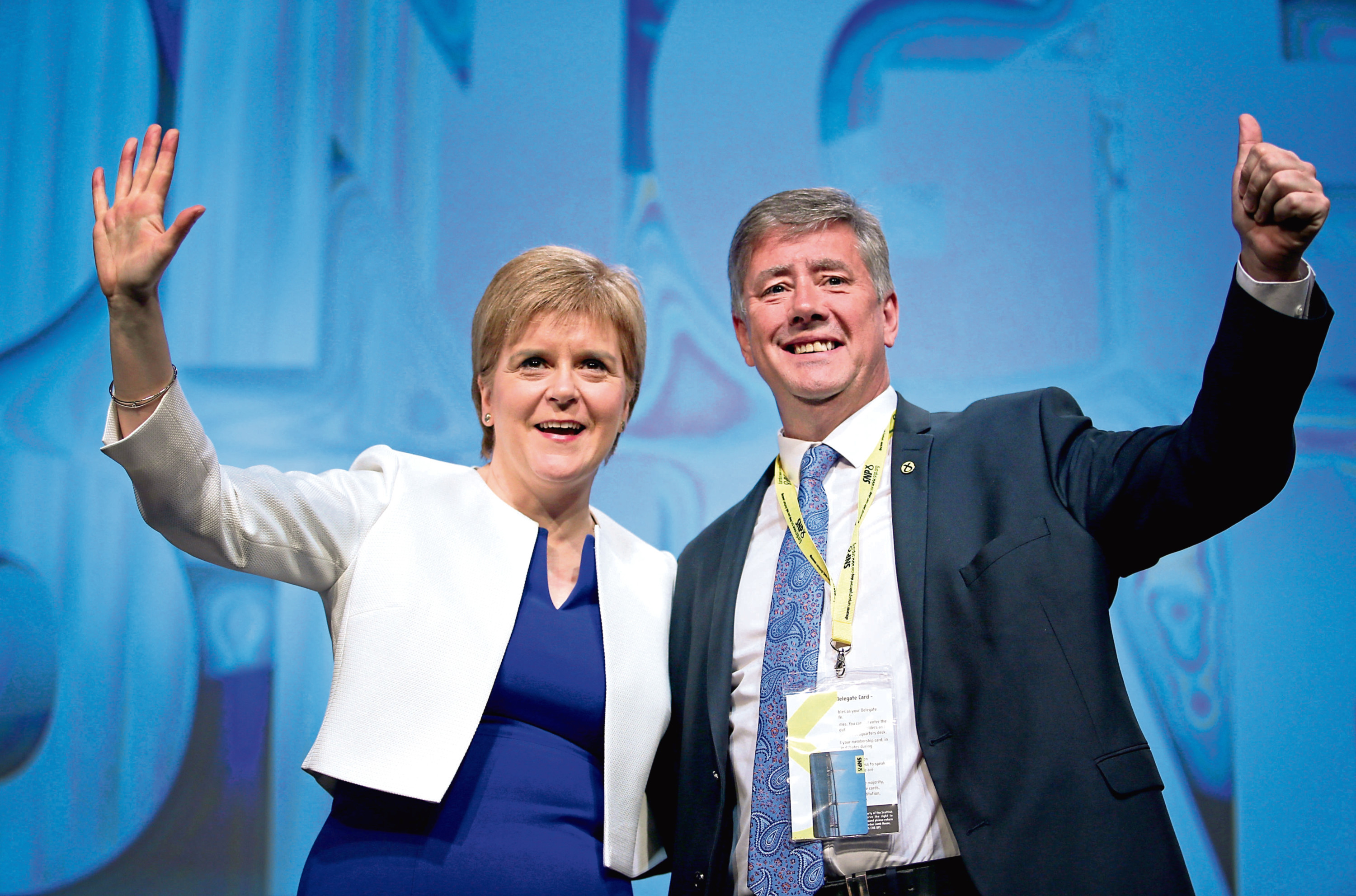 First Minister Nicola Sturgeon with the party's new deputy leader Keith Brown MSP (Jane Barlow/PA Wire)