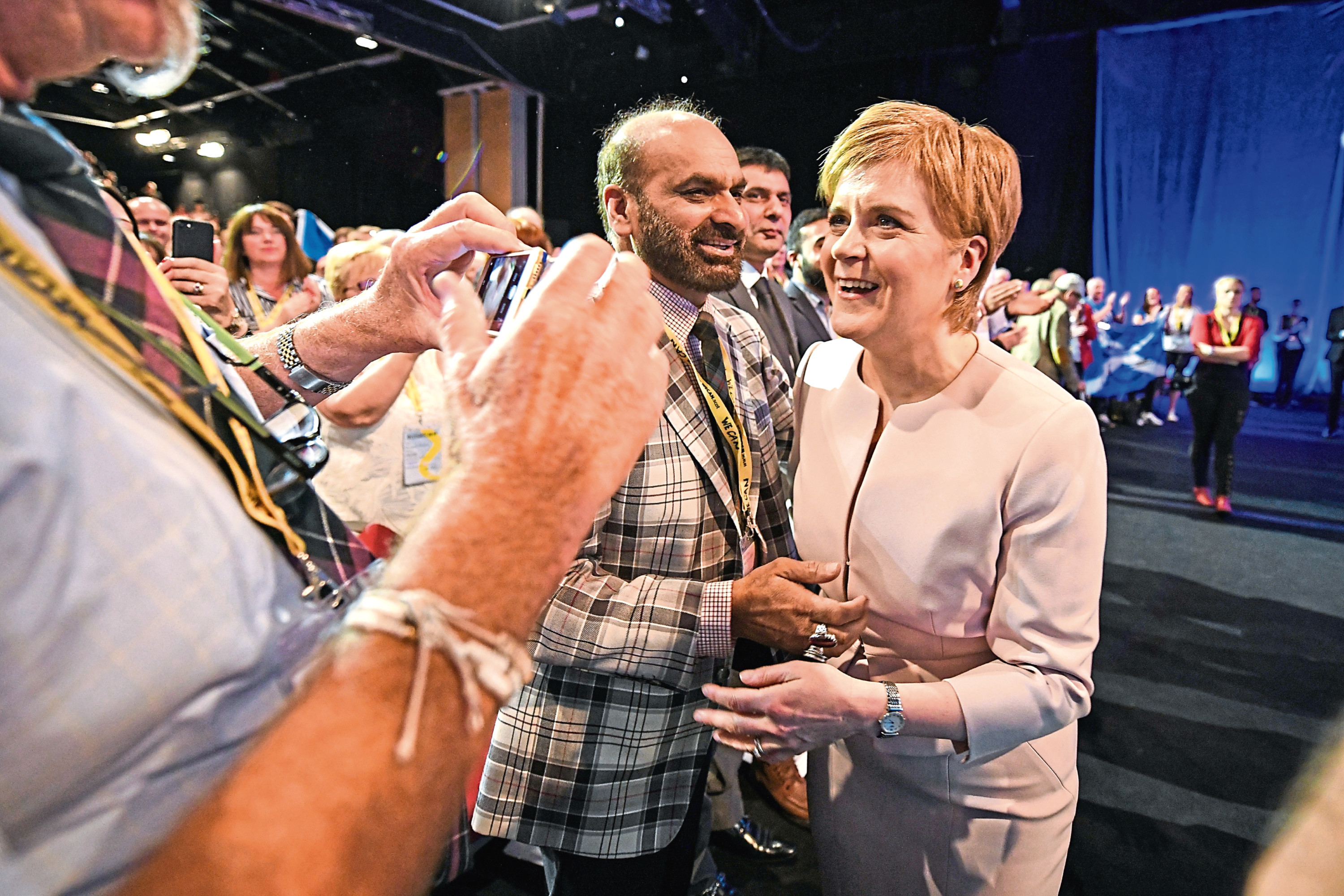 SNP leader Nicola Sturgeon meets deligates after delivering her keynote speech (Jeff J Mitchell/Getty Images)