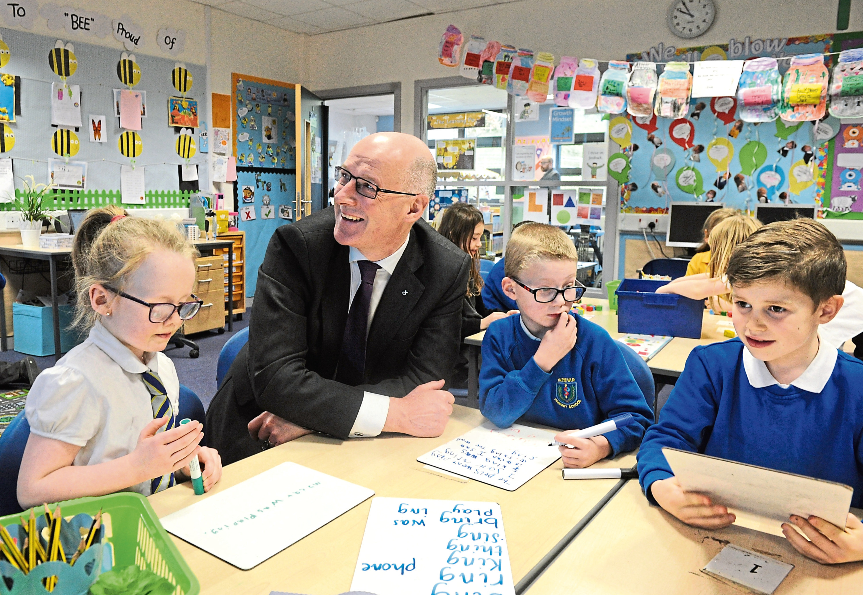 Education secretary John Swinney on a visit to Inzievar Primary.