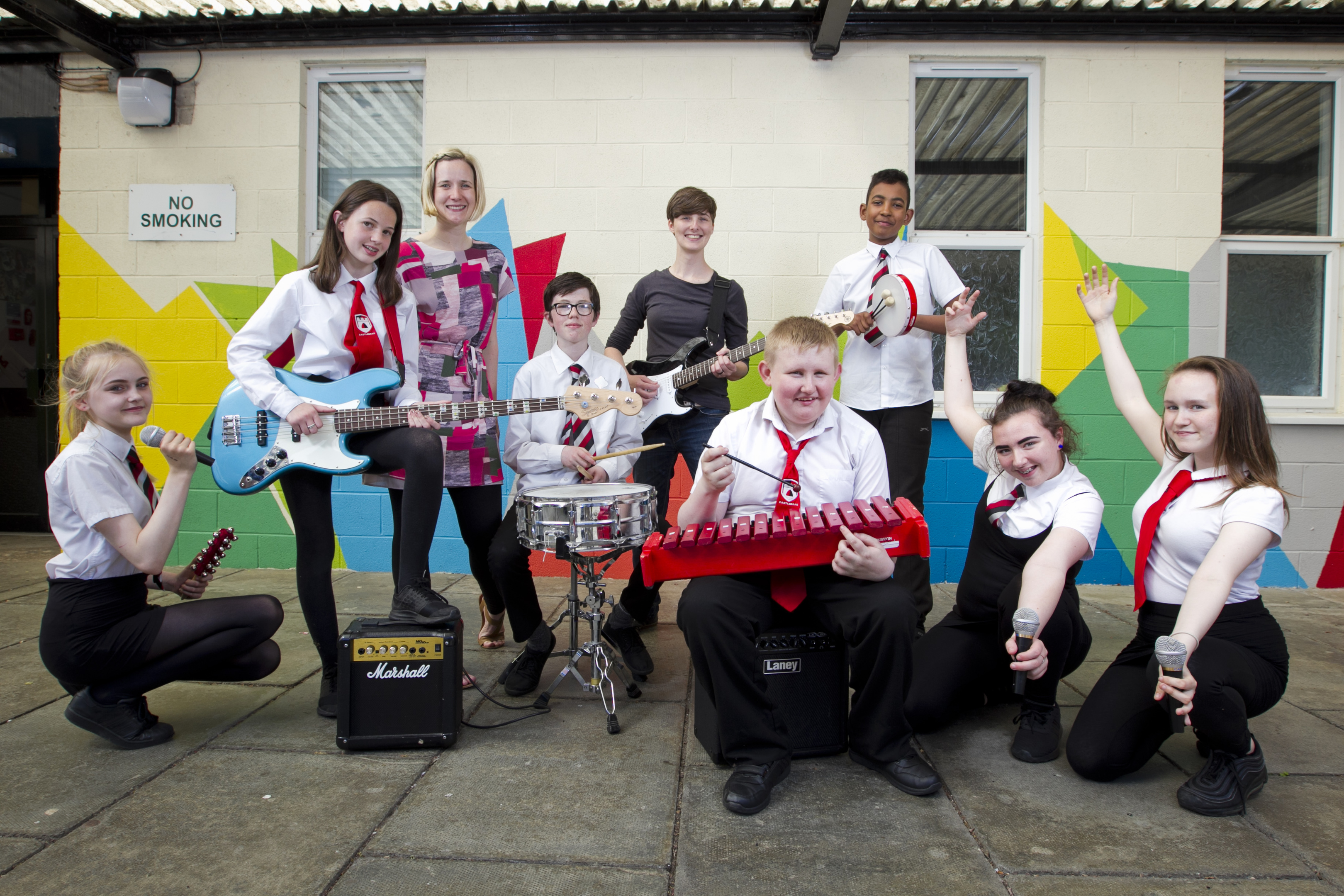 Pupils at Castlebrae High School in Edinburgh, who have recorded a song (Andrew Cawley / DC Thomson)