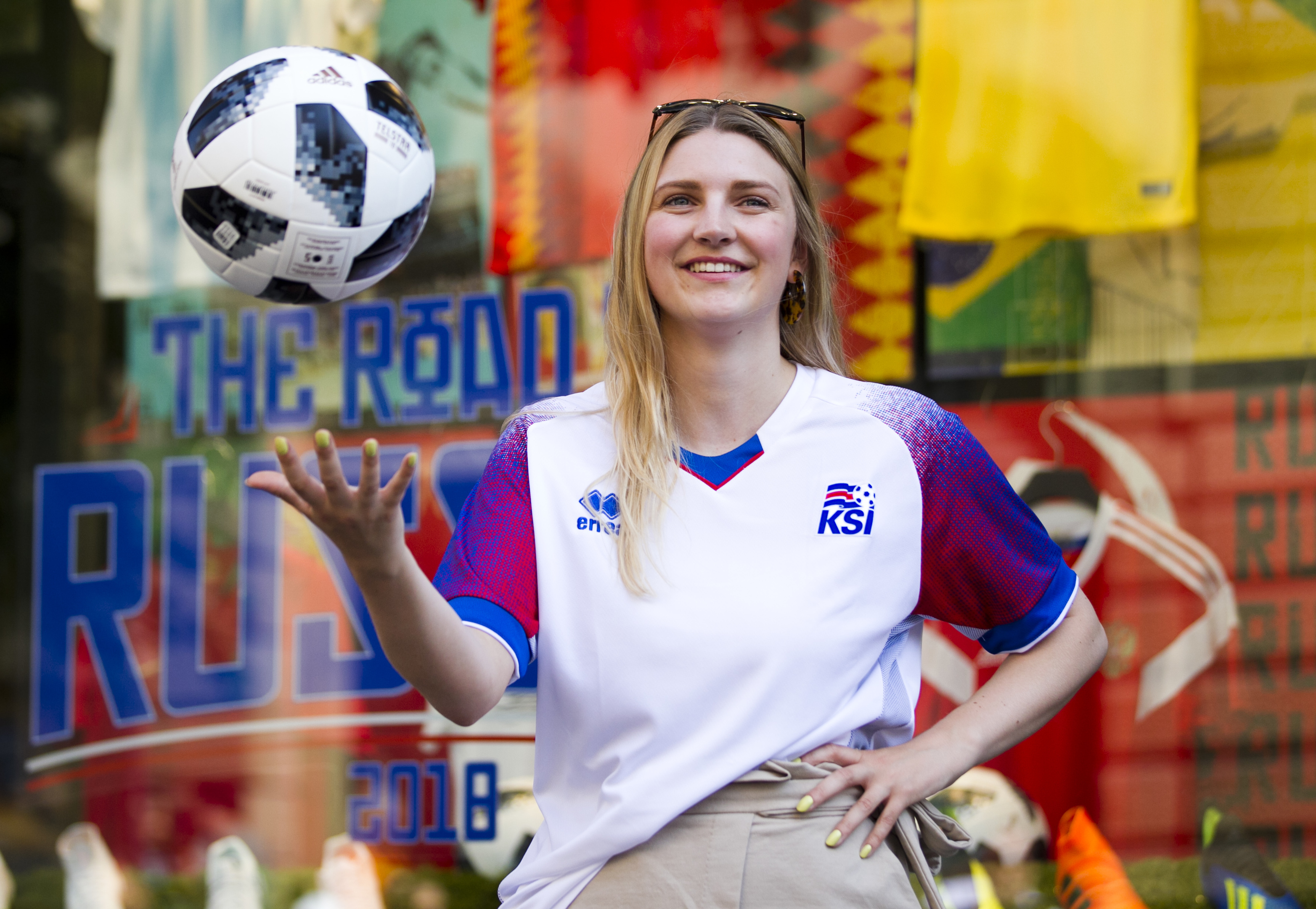 Greaves worker Karoline Hermansen shows off the Iceland football top (Andrew Cawley / DC Thomson)