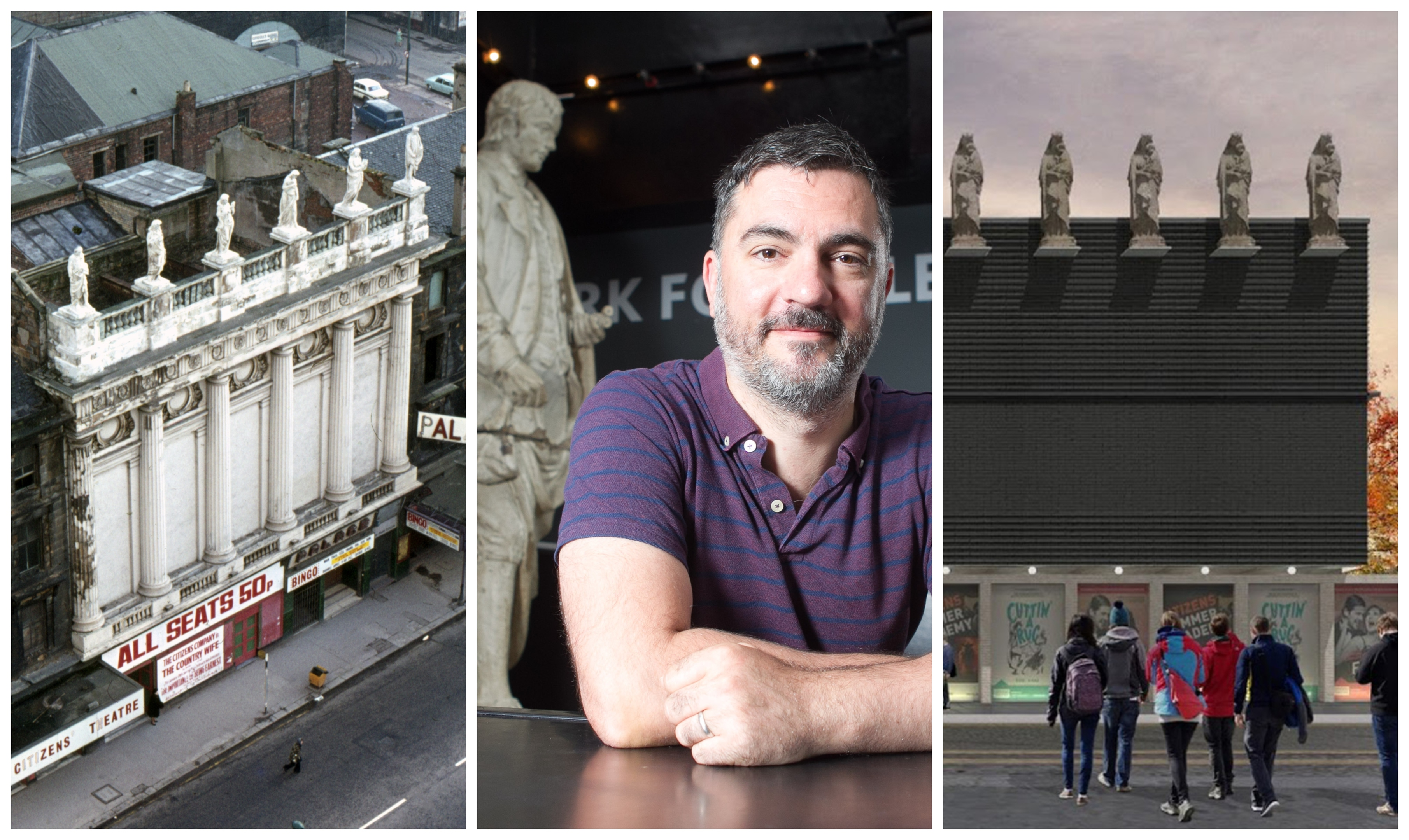 Graham Sutherland, the theatre's head of production (centre) can't wait to get the Muses back on the roof at the new building (right) as they were years ago (left)