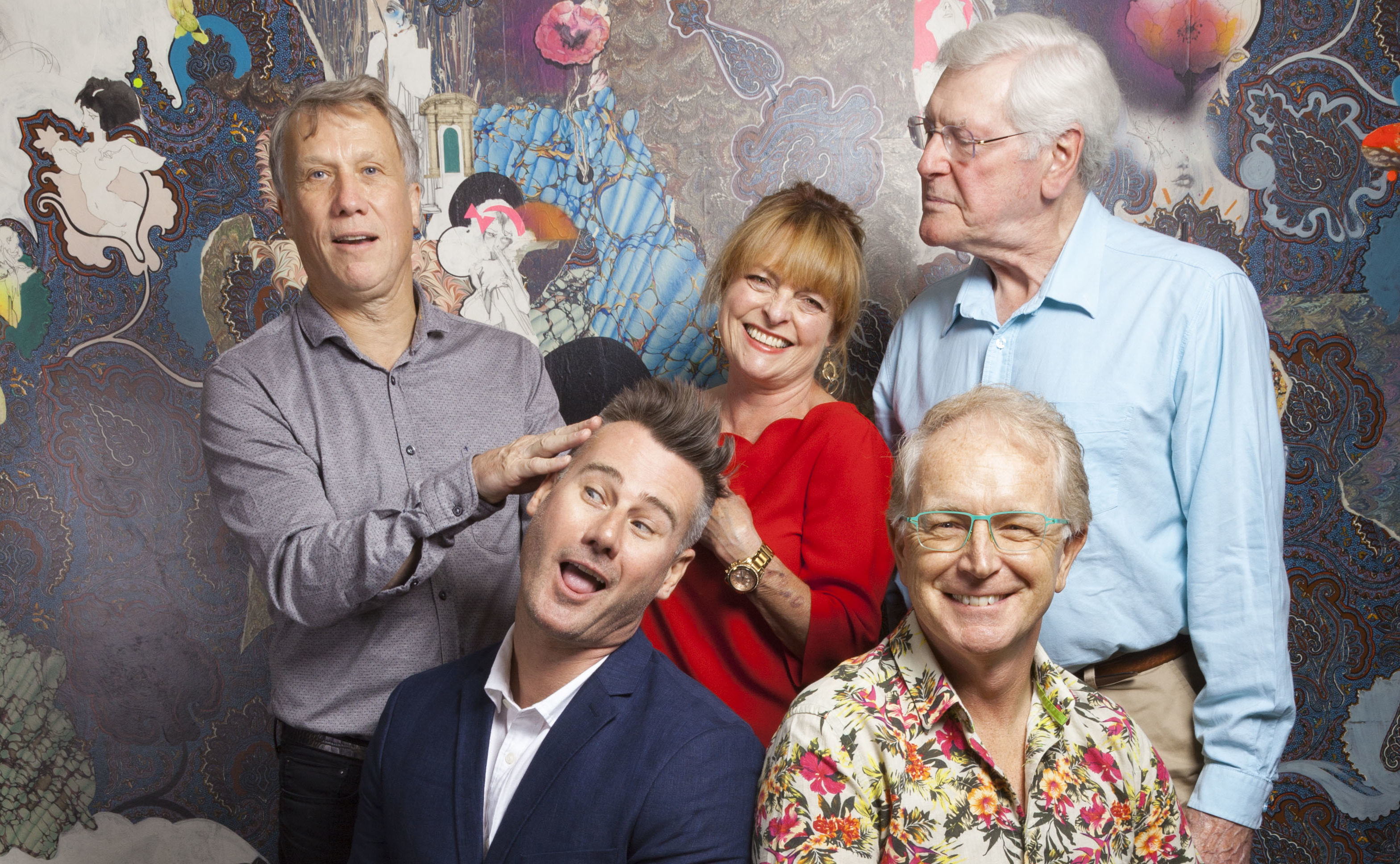 Former Blue Peter presenters Peter Duncan, Tim Vincent, Janet Ellis, Mark Curry, Peter Purves (Photo by Nick Rutter)