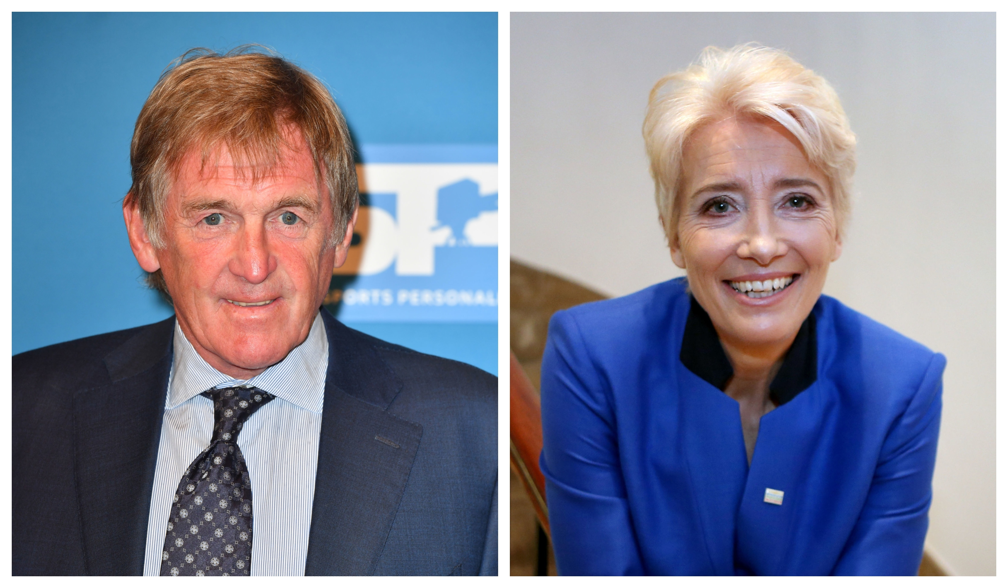 Sir Kenny Dalglish and Dame Emma Thompson (PA)