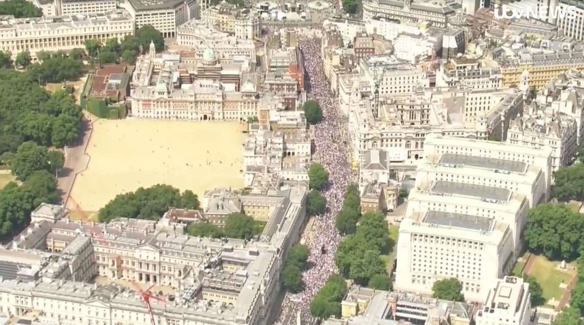 Organisers claim 100,000 people took part in the march through London (ITV)