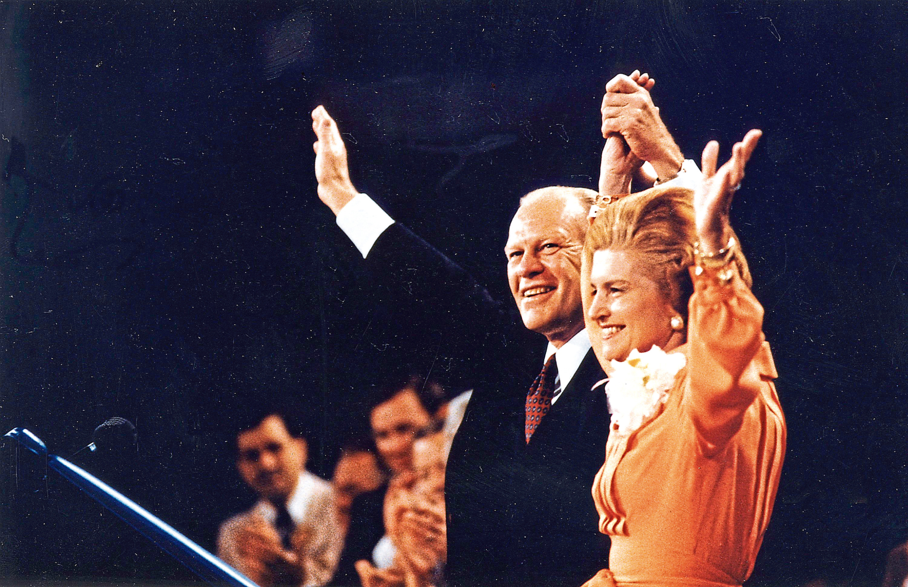 President Ford and Betty Ford wave to the crowd at the Republican National Convention in Kansas City, Missouri August 19, 1976 (Karl Schumacher/Gerald R. Ford Library via Getty Images)
