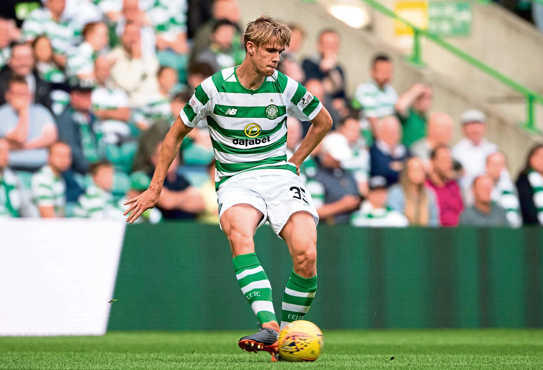 18/07/18 CHAMPIONS LEAGUE FIRST ROUND QUALIFIER 2ND LEG  CELTIC v FC ALASHKERT   CELTIC PARK - GLASGOW  Kristoffer Ajer in action for Celtic.