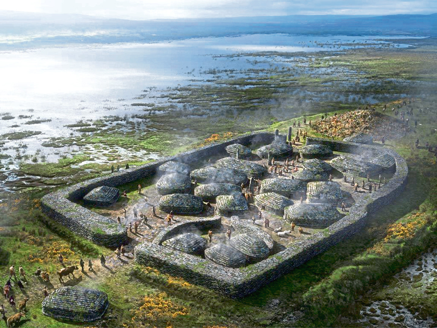 An artist's impression of how life would have looked at the Orkney site.