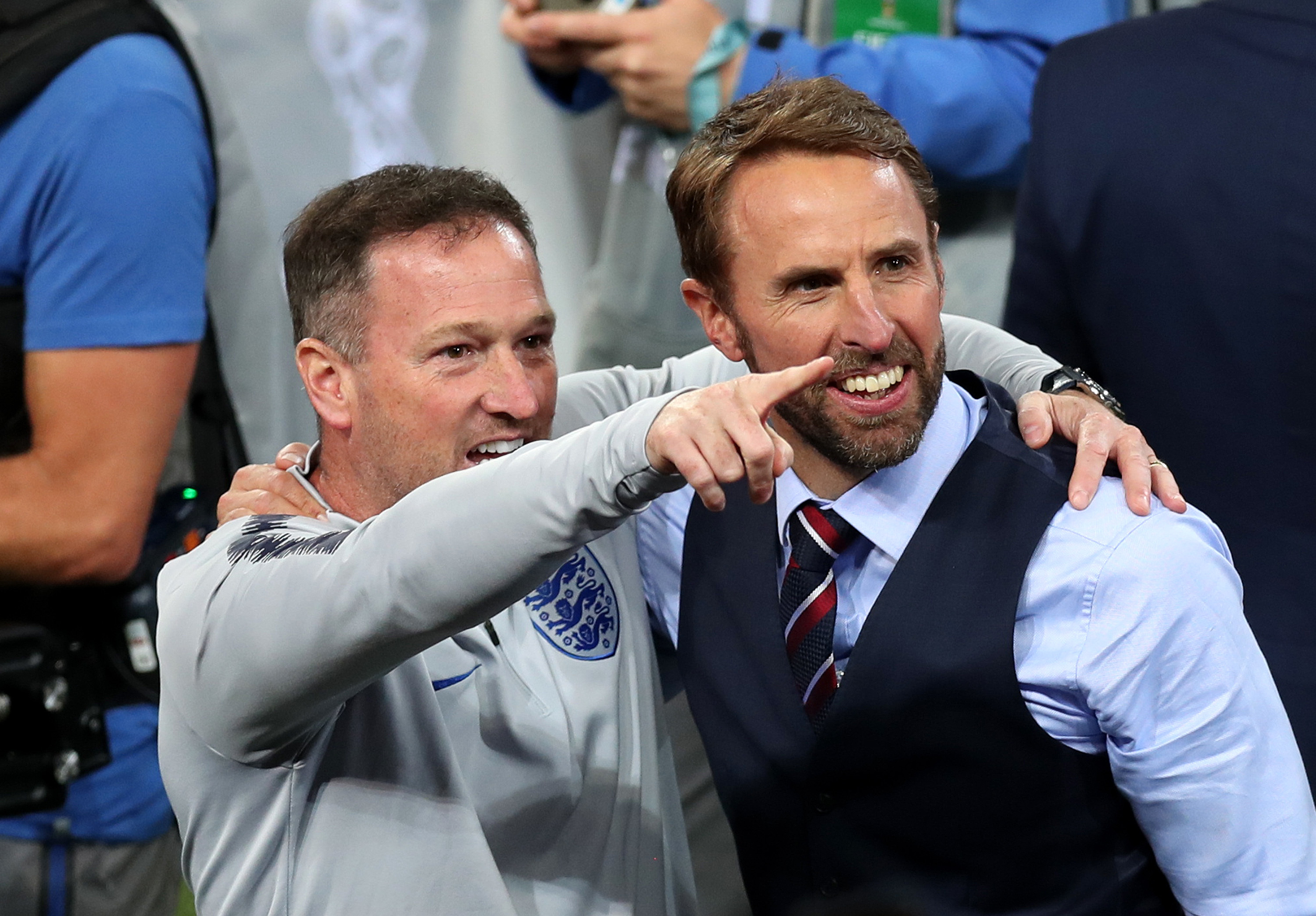 Steve Holland and Gareth Southgate celebrate after penalties against Colombia (Alex Morton/Getty Images)