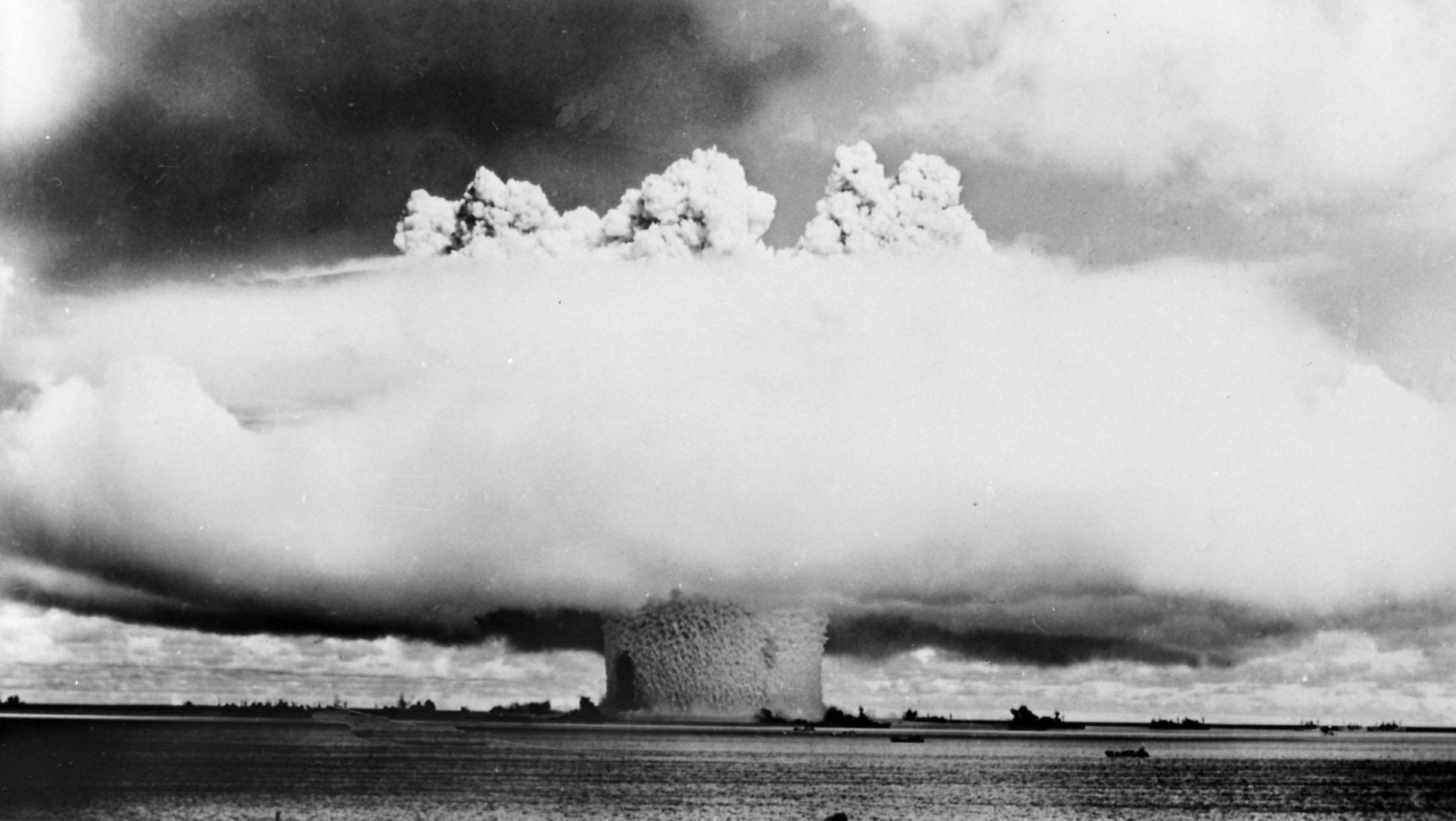 Phase 3 of the Atom Bomb explosion in the Lagoon of Bikini Island. Getty.