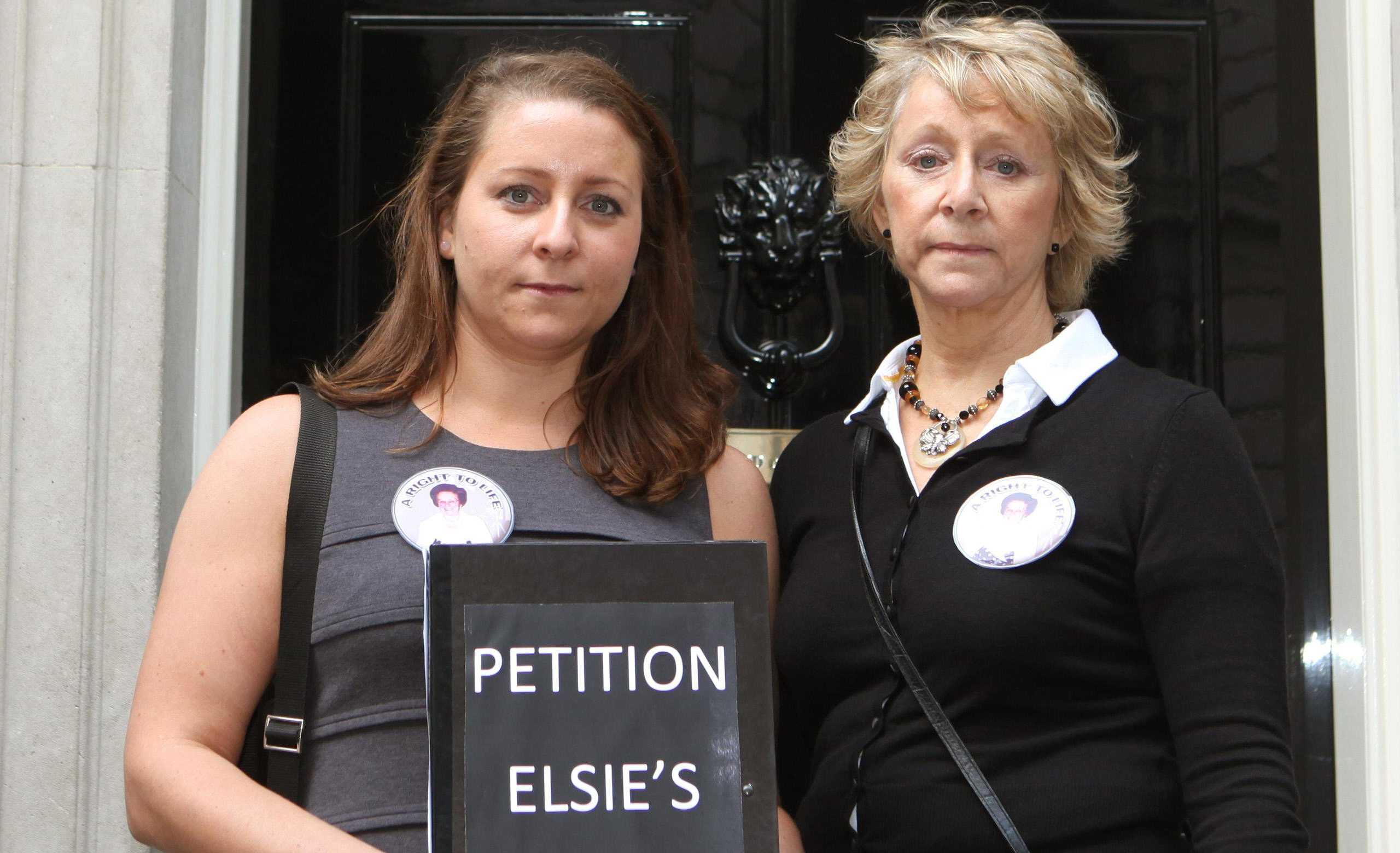 Bridget and Ann Reeves hand in their petition at  10 Downing Street