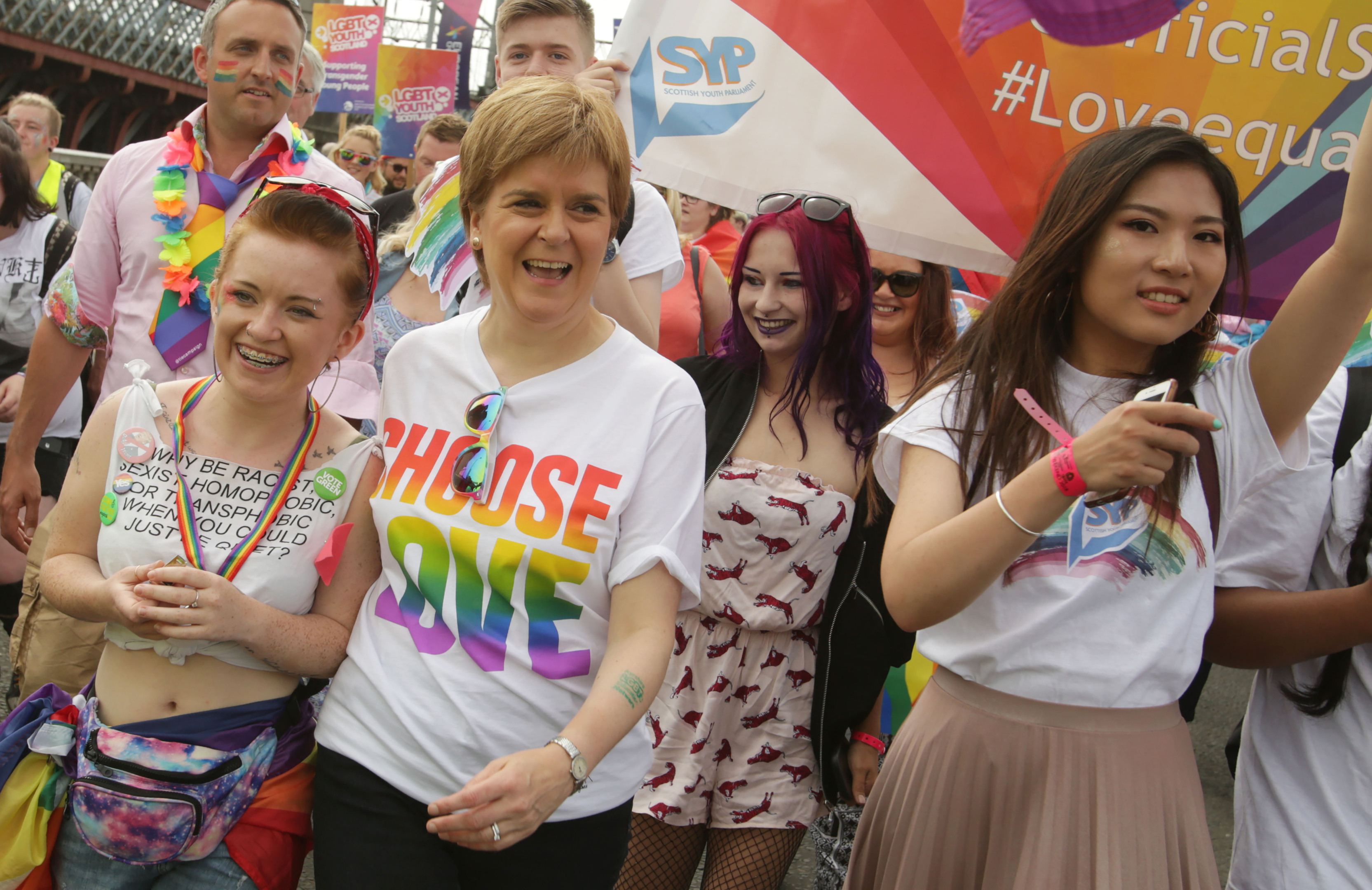 First Minister Nicola Sturgeon leads the Pride parade yesterday, saying the president should try to understand the protests (David Cheskin/PA Wire)
