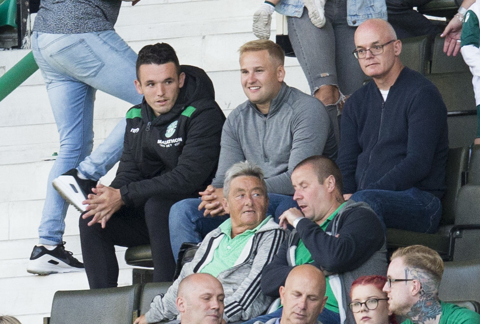 John McGinn takes in last night's Europa League qualifier from the stand (SNS Group / Bruce White)