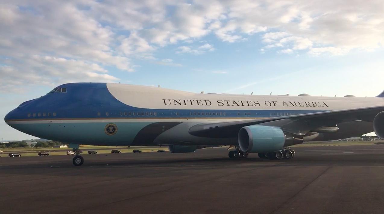 Air Force One arriving at Prestwick (Megan McEachern / DC Thomson)
