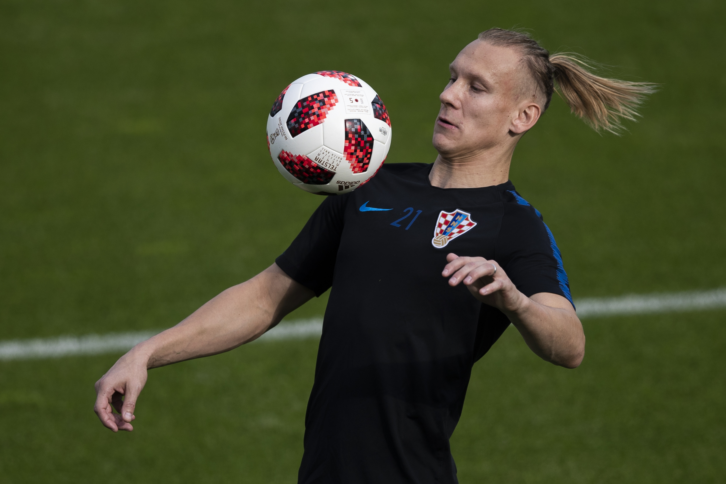 Croatia's Domagoj Vida trains with the Adidas ball (AP Photo/Francisco Seco)