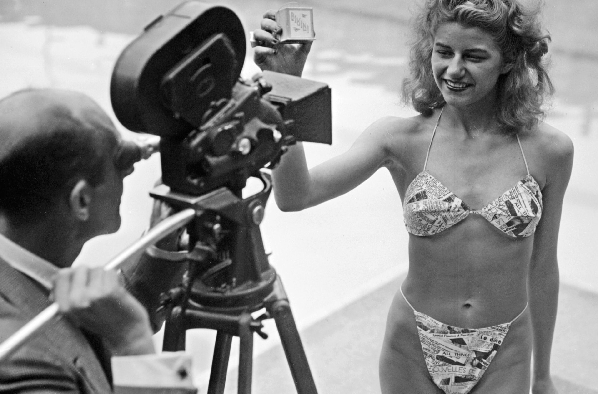 Michelline Bernardini was the first woman to wear the modern style bikini. Pictured here in 1946. Getty.