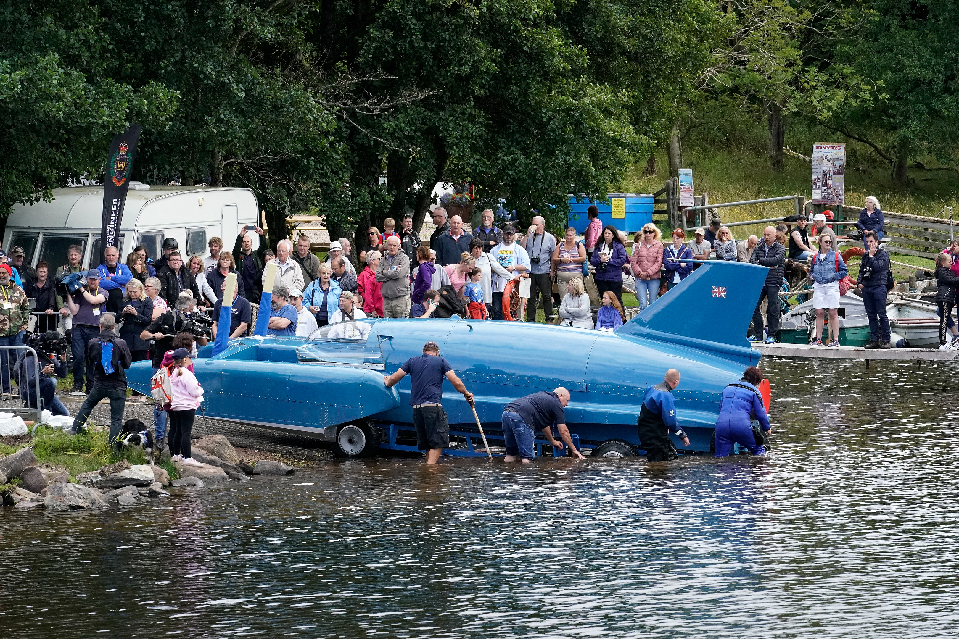 The first attempt at re-floating Donald Campbell's iconic Bluebird takes place on the waters of Loch Fad (Christopher Furlong/Getty Images)