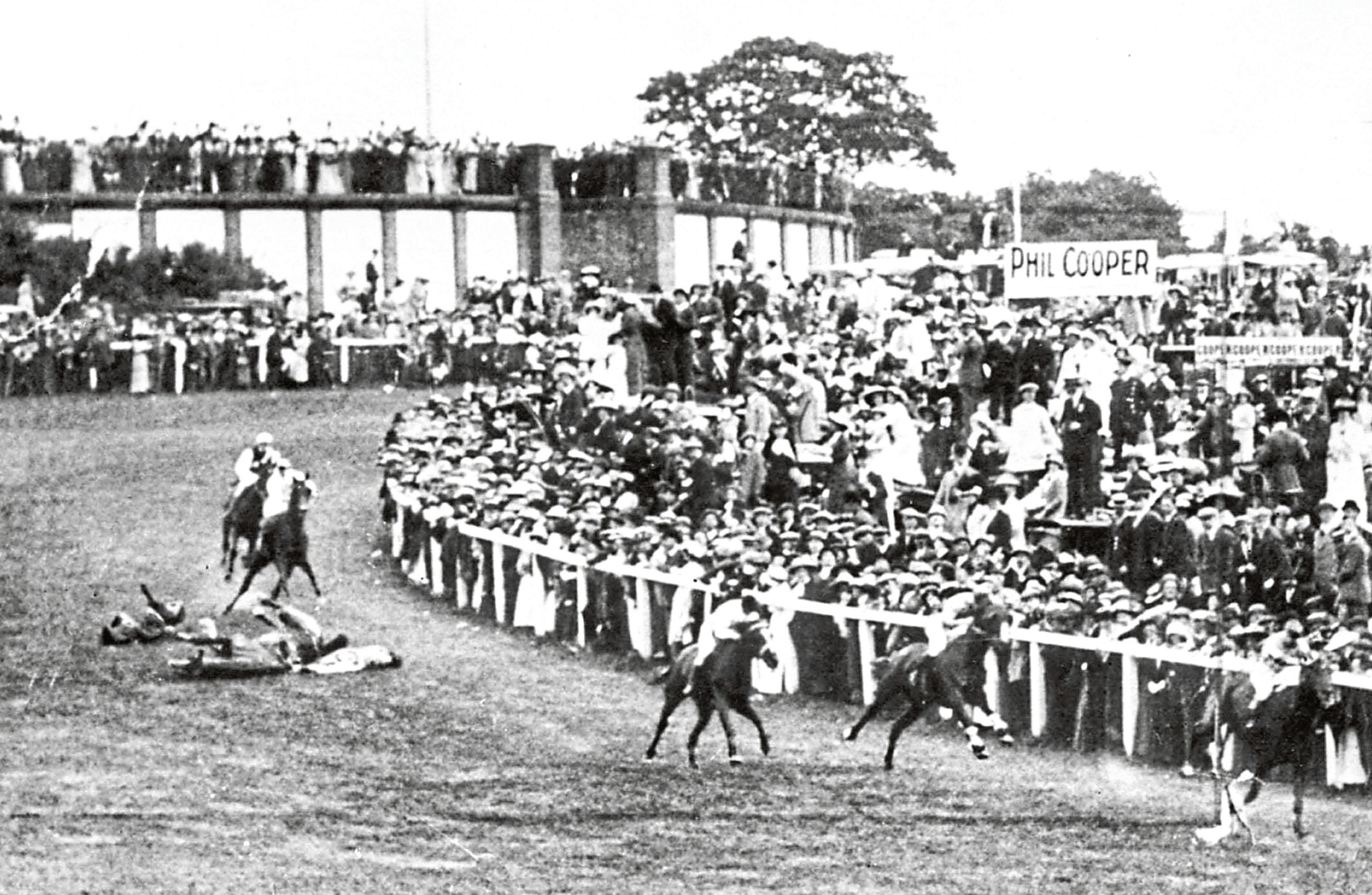 Emily Davison is knocked down by the King's mount at Epsom