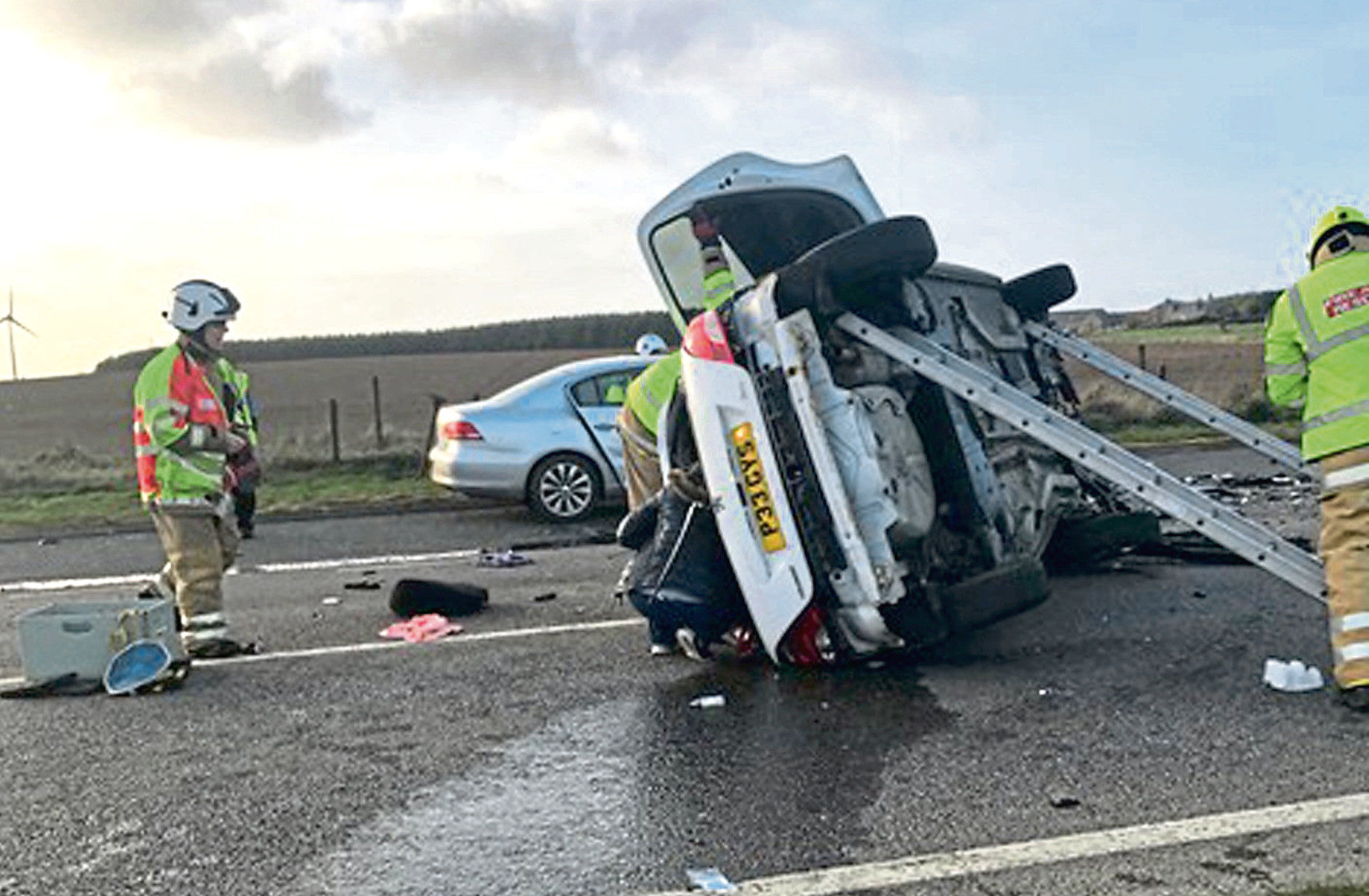 The crash at the Toll of Birness on the A90