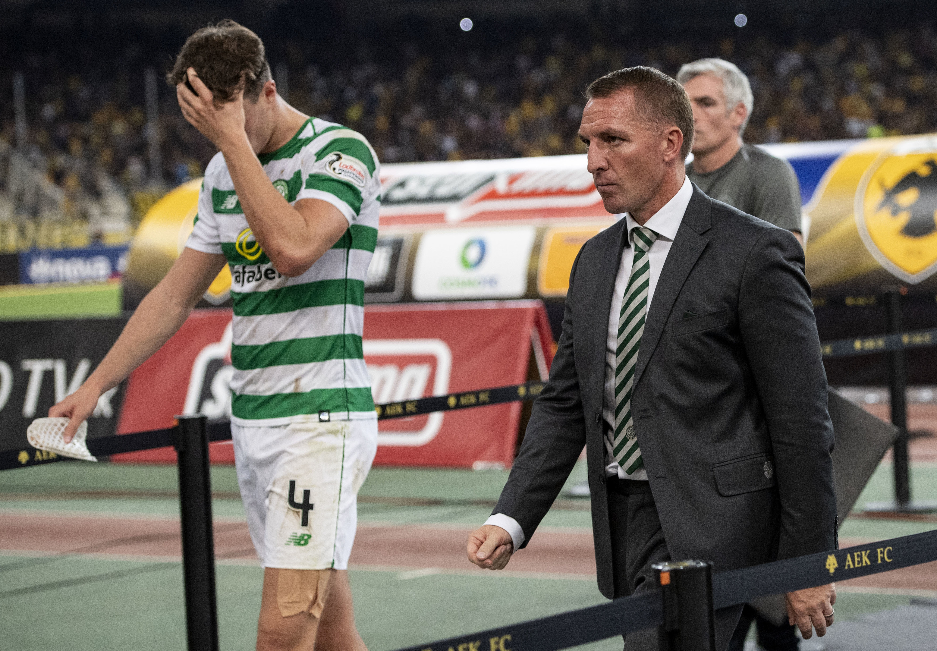 Celtic manager Brendan Rodgers and Jack Hendry look dejected at full time (SNS Group / Craig Williamson)