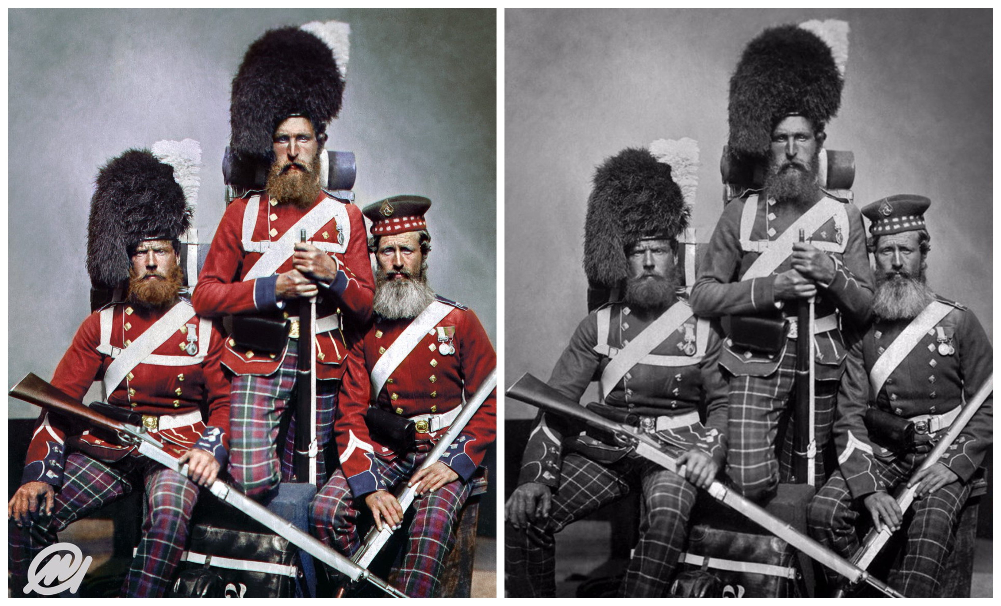 William Noble, Alexander Davison and John Harper of the 72nd Regiment, Duke of Albany's Own Highlanders, who served in the Crimean War between 1853 and 1856, seeing action at the Siege of Sevastopol. The colourised image is held at the Imperial War Museum in London
