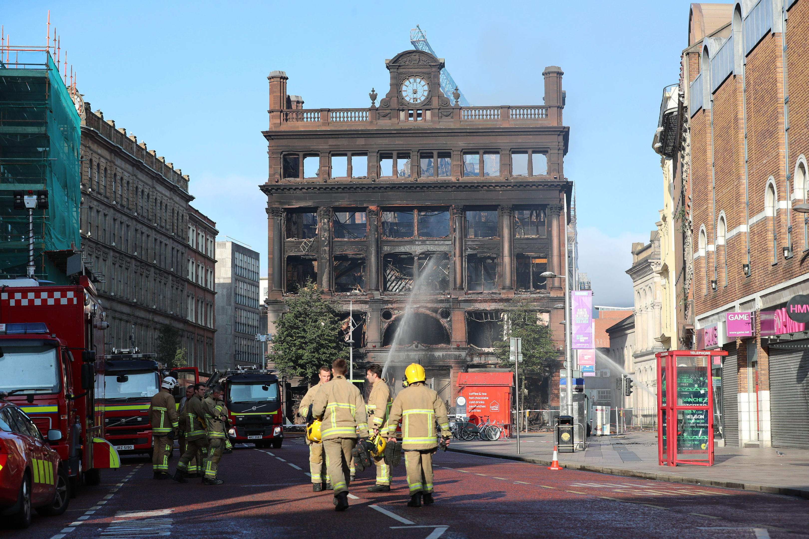 The fire damaged shell of the Primark store in Belfast city centre this morning (Liam McBurney/PA Wire)