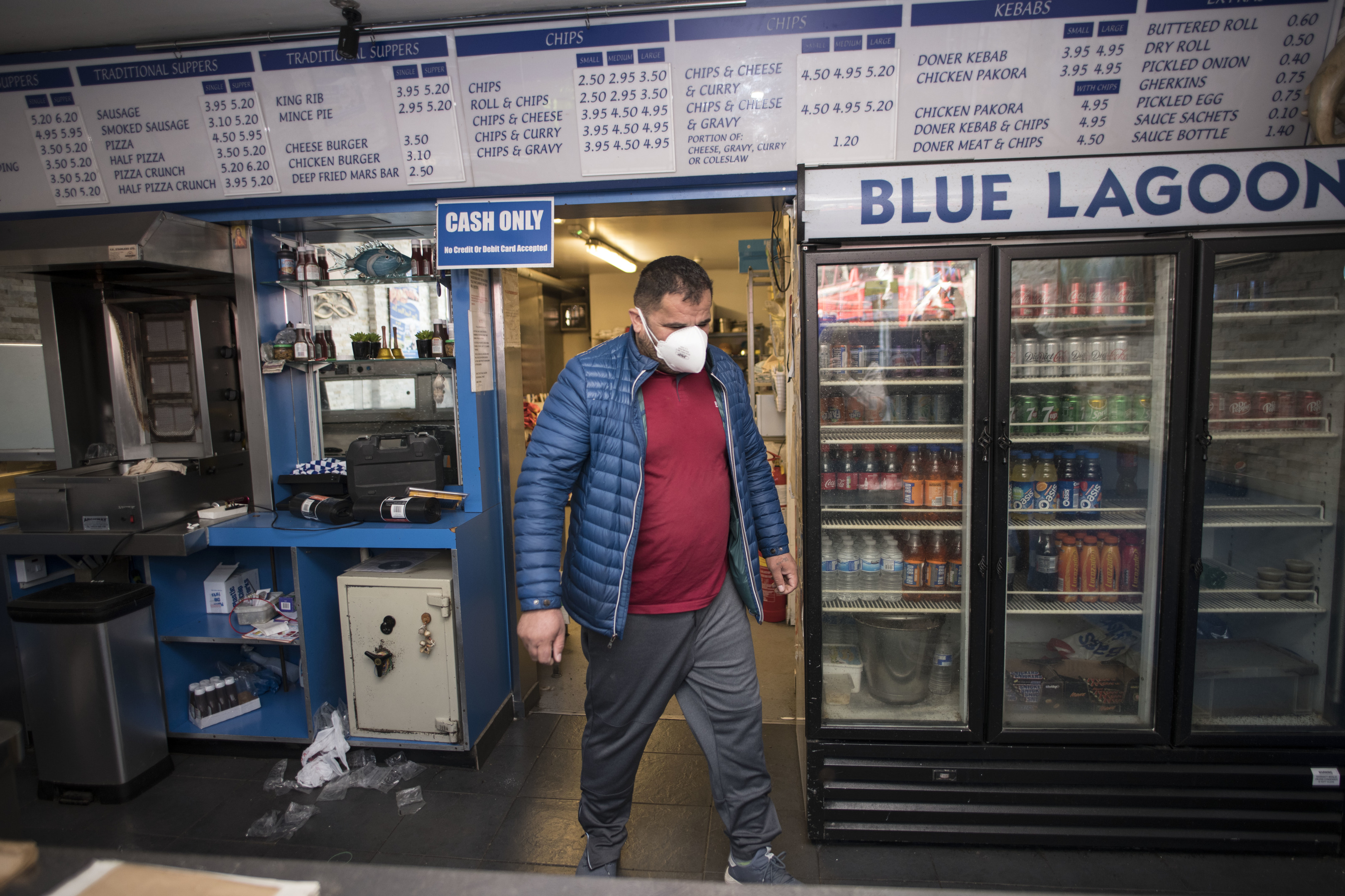Blue Lagoon franchise owner Andy Senko surveys the premises after opening the doors for the first time since the fire (Wattie Cheung)