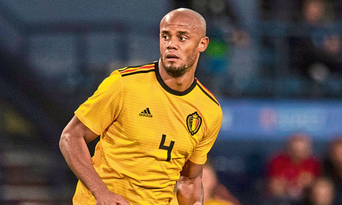 Vincent Kompany in action for Belgium against Scotland (SNS Group)