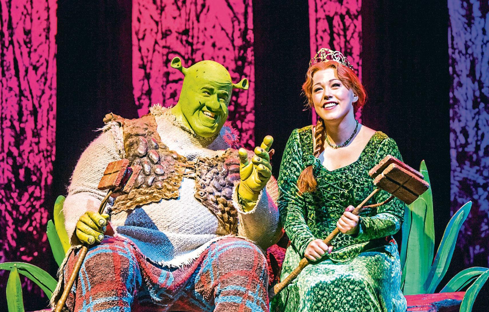 A scene from Shrek The Musical, featuring Amelia Lily as Princess Fiona (Tristram Kenton)