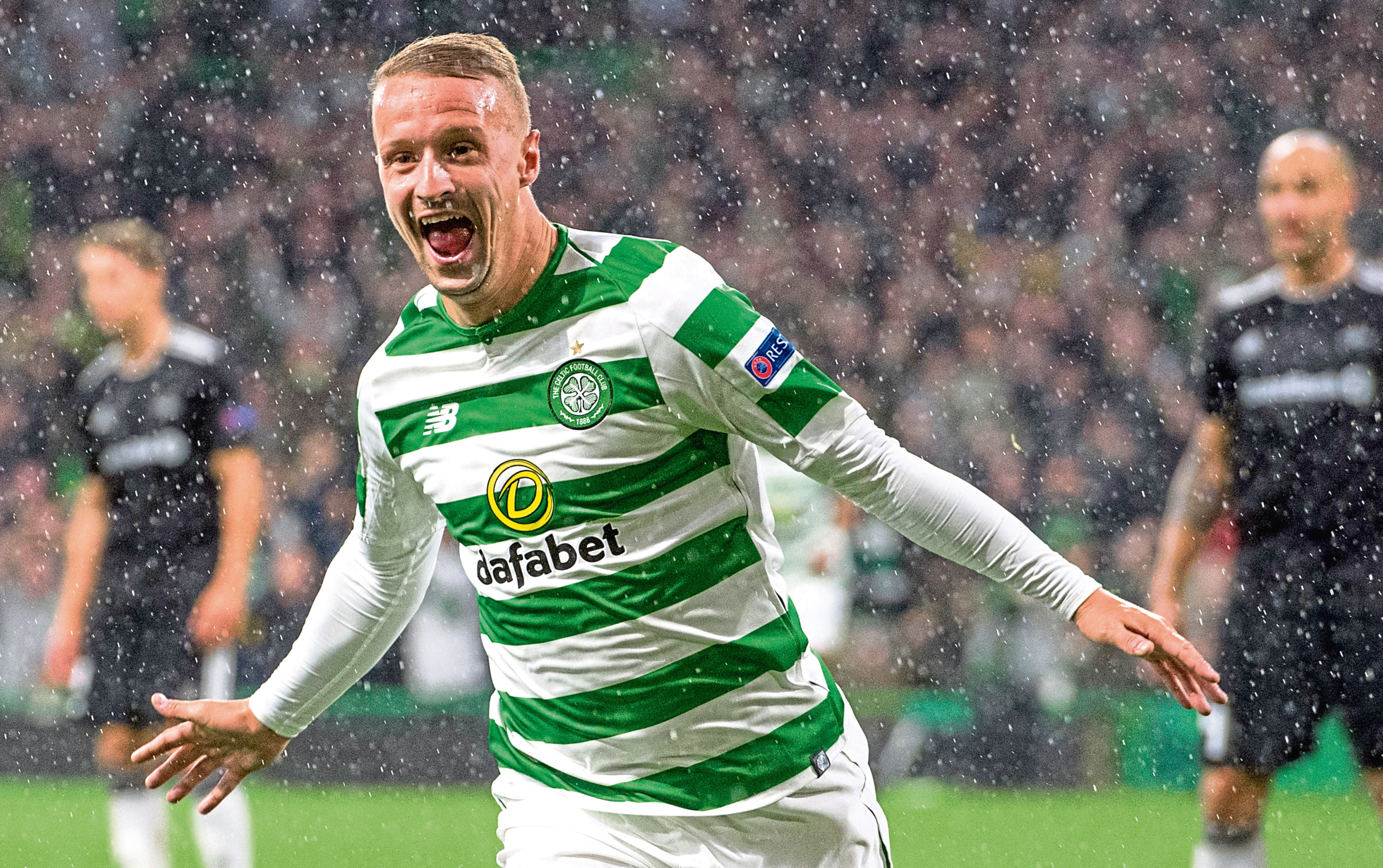 Celtic's Leigh Griffiths celebrates his late goal against Rosenborg (SNS Group)