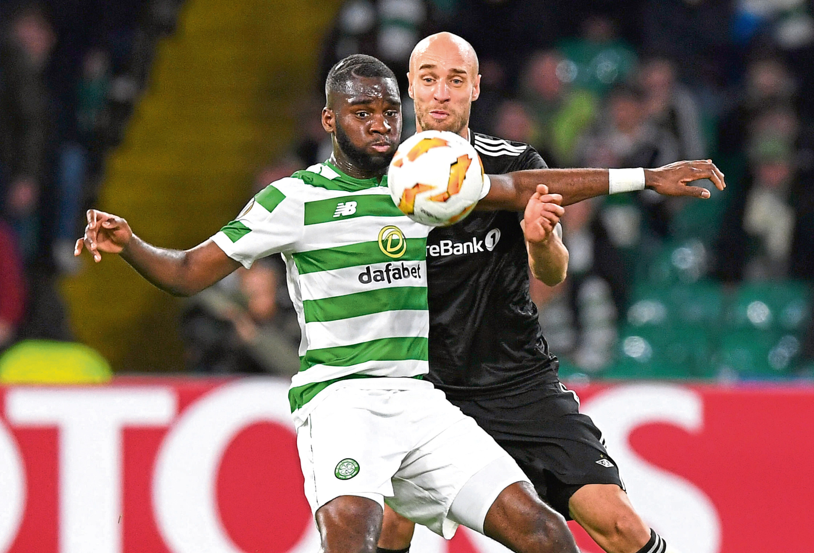 Celtic's Odsonne Edouard (left) holds off Rosenborg's Tore Reginiussen in Europa League action (SNS Group / Craig Foy)
