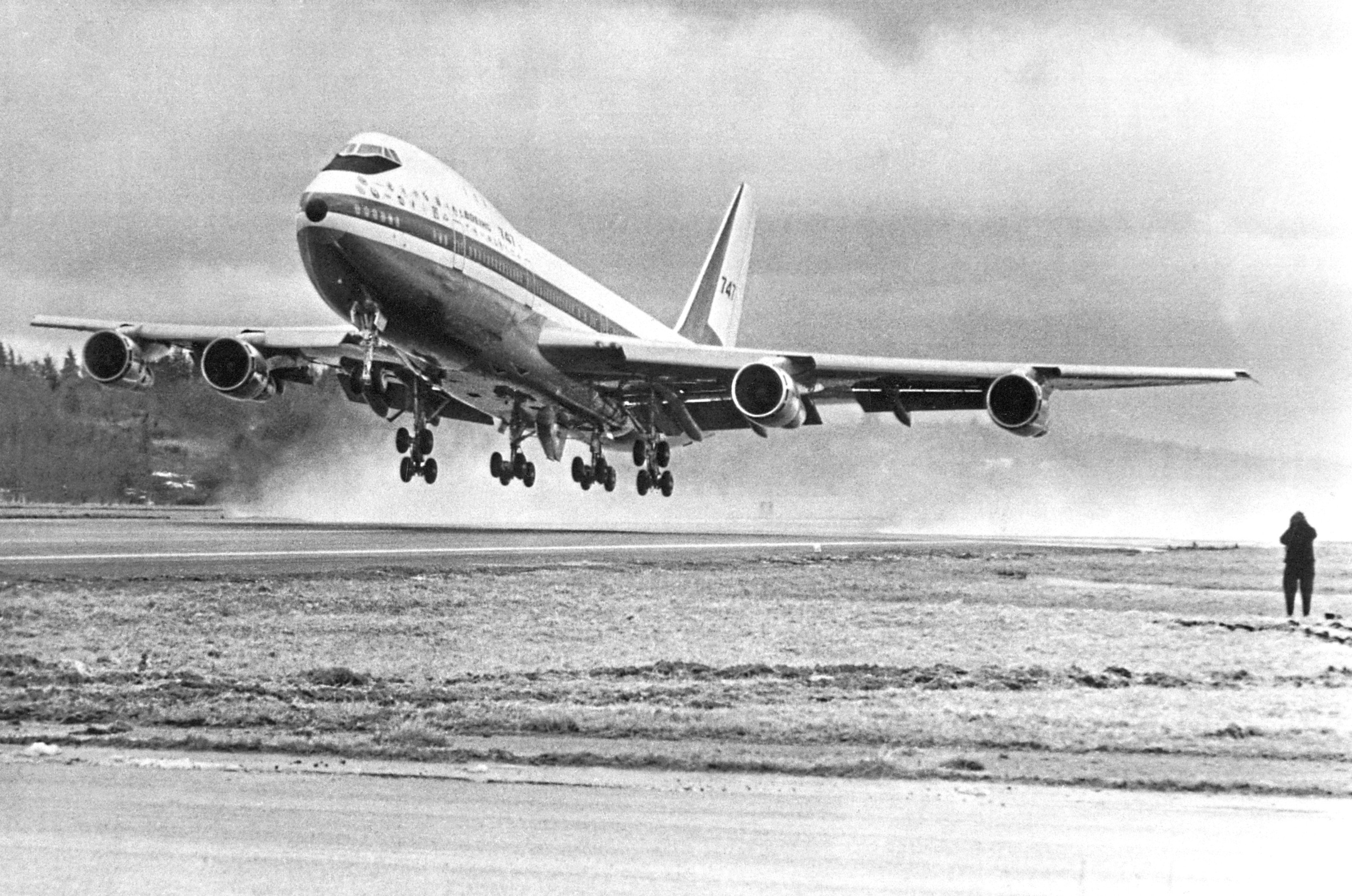 The Boeing 747 makes its first takeoff near Washington DC