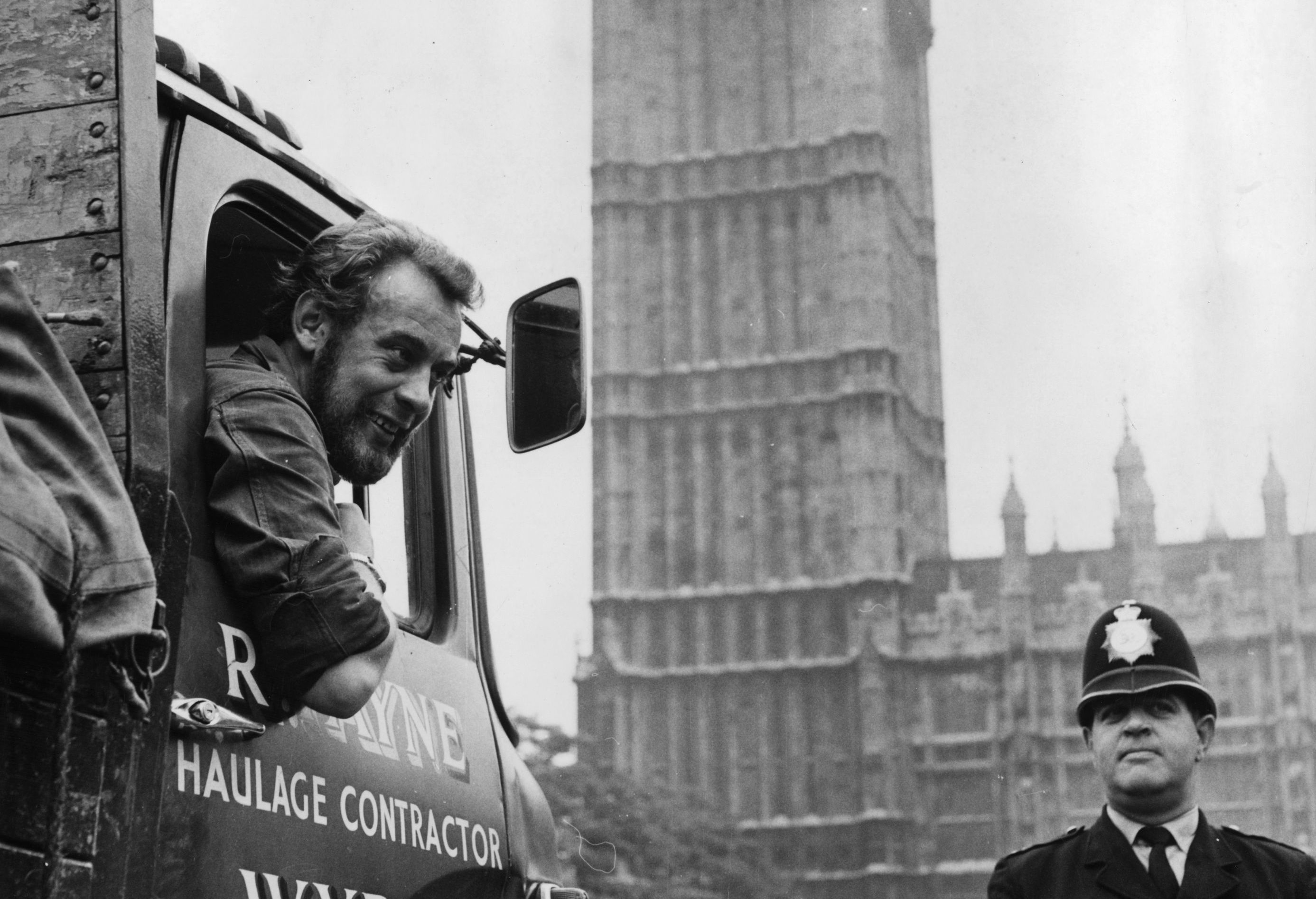 Les Huckfield, the youngest member of the house, in a lorry at the Houses of Parliament in 1967. (Keystone/Getty Images)